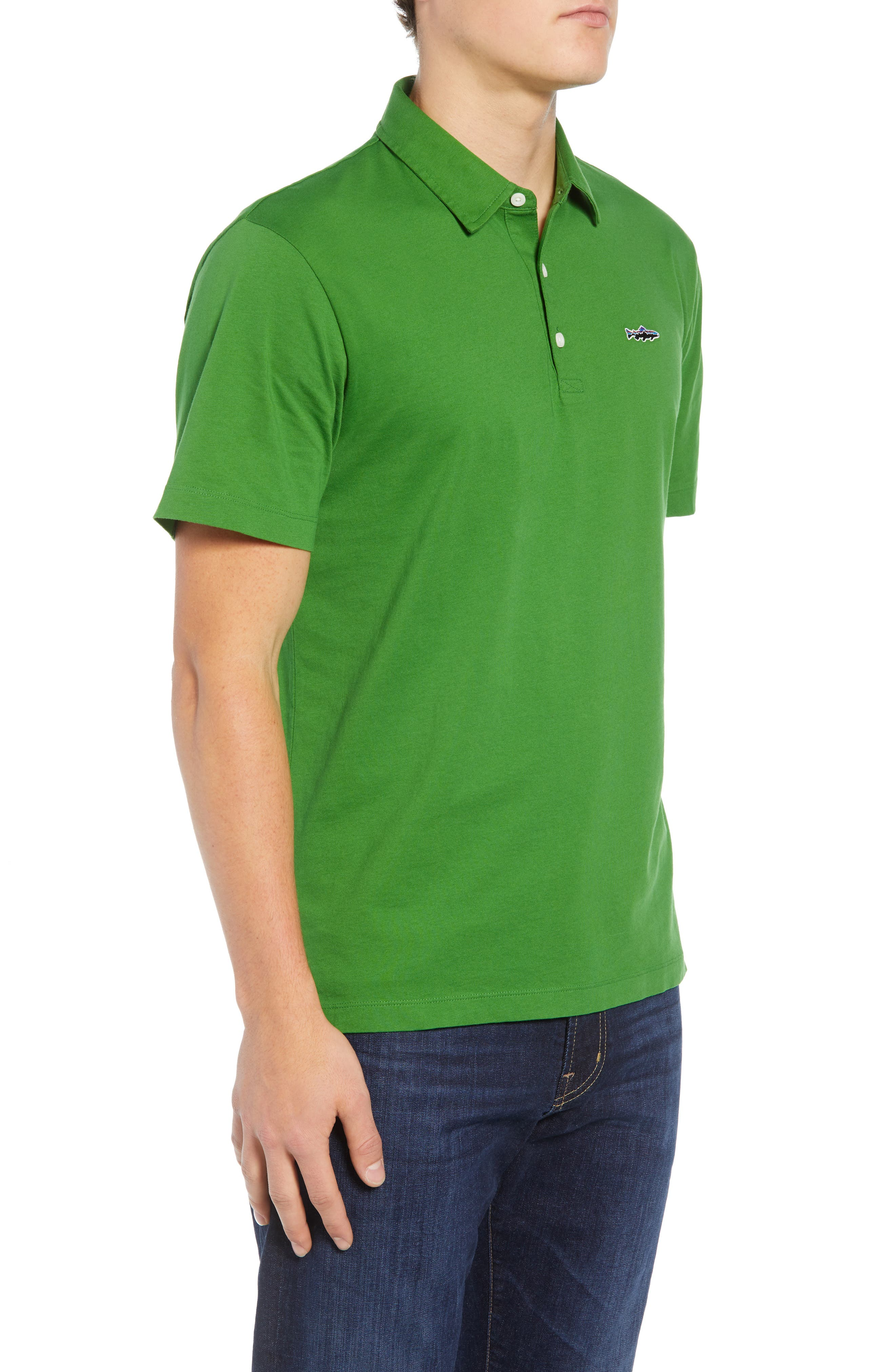 'Trout Fitz Roy' Organic Cotton Polo,                             Alternate thumbnail 3, color,                             MYRTLE GREEN