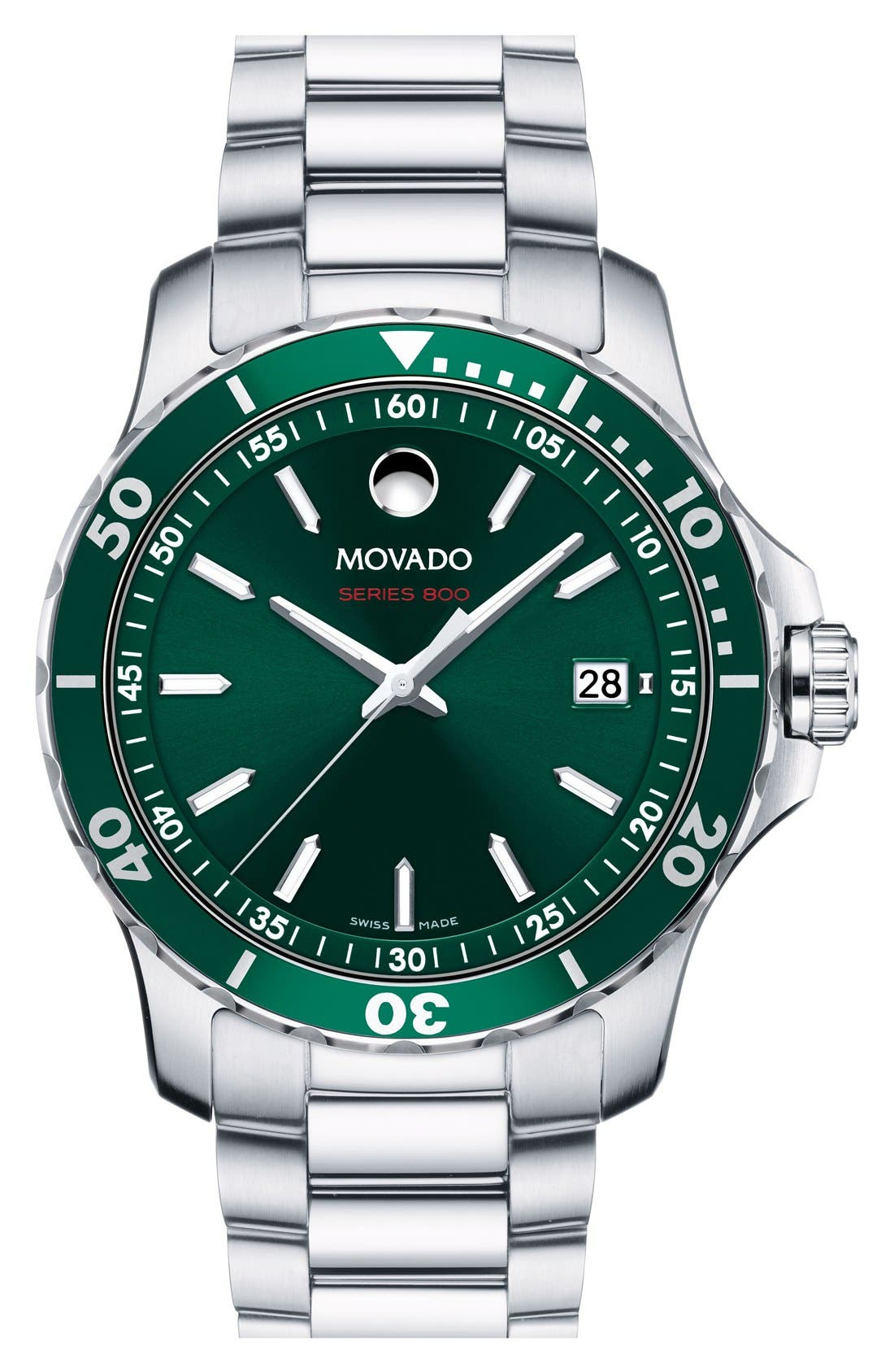 'Series 800' Bracelet Watch, 40mm,                             Main thumbnail 1, color,                             SILVER/ GREEN