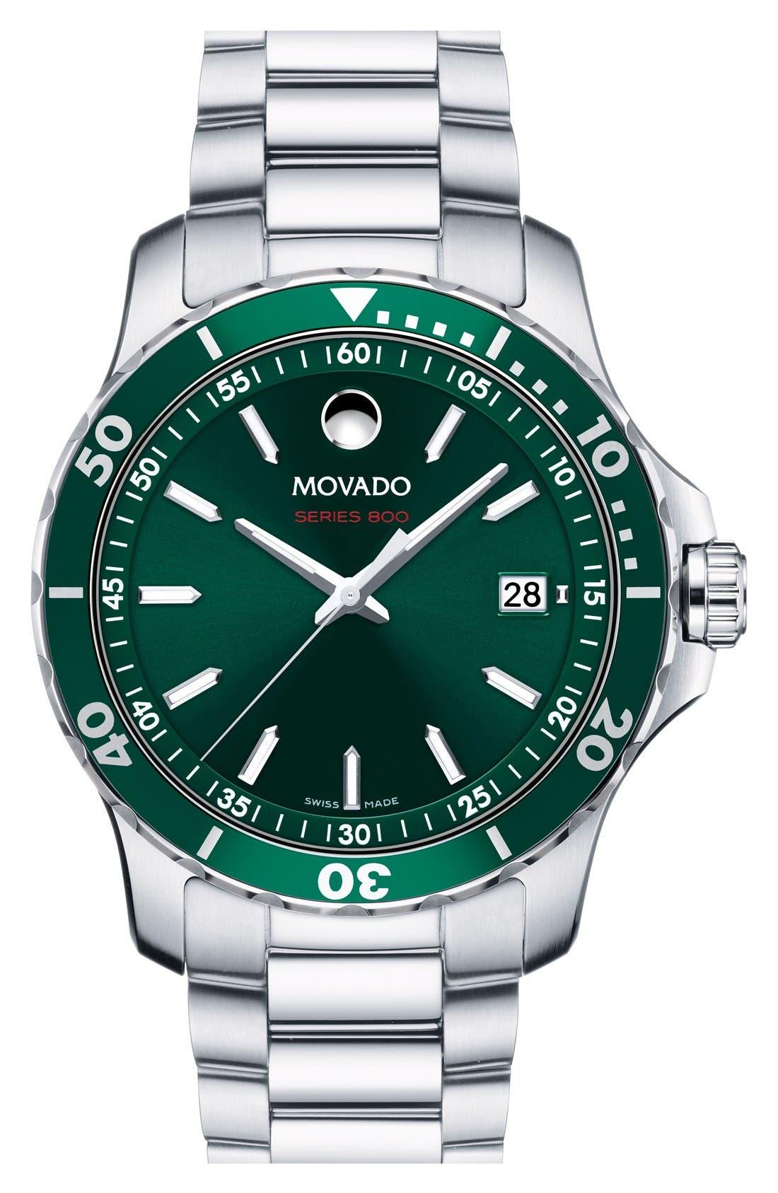 'Series 800' Bracelet Watch, 40mm,                         Main,                         color, SILVER/ GREEN