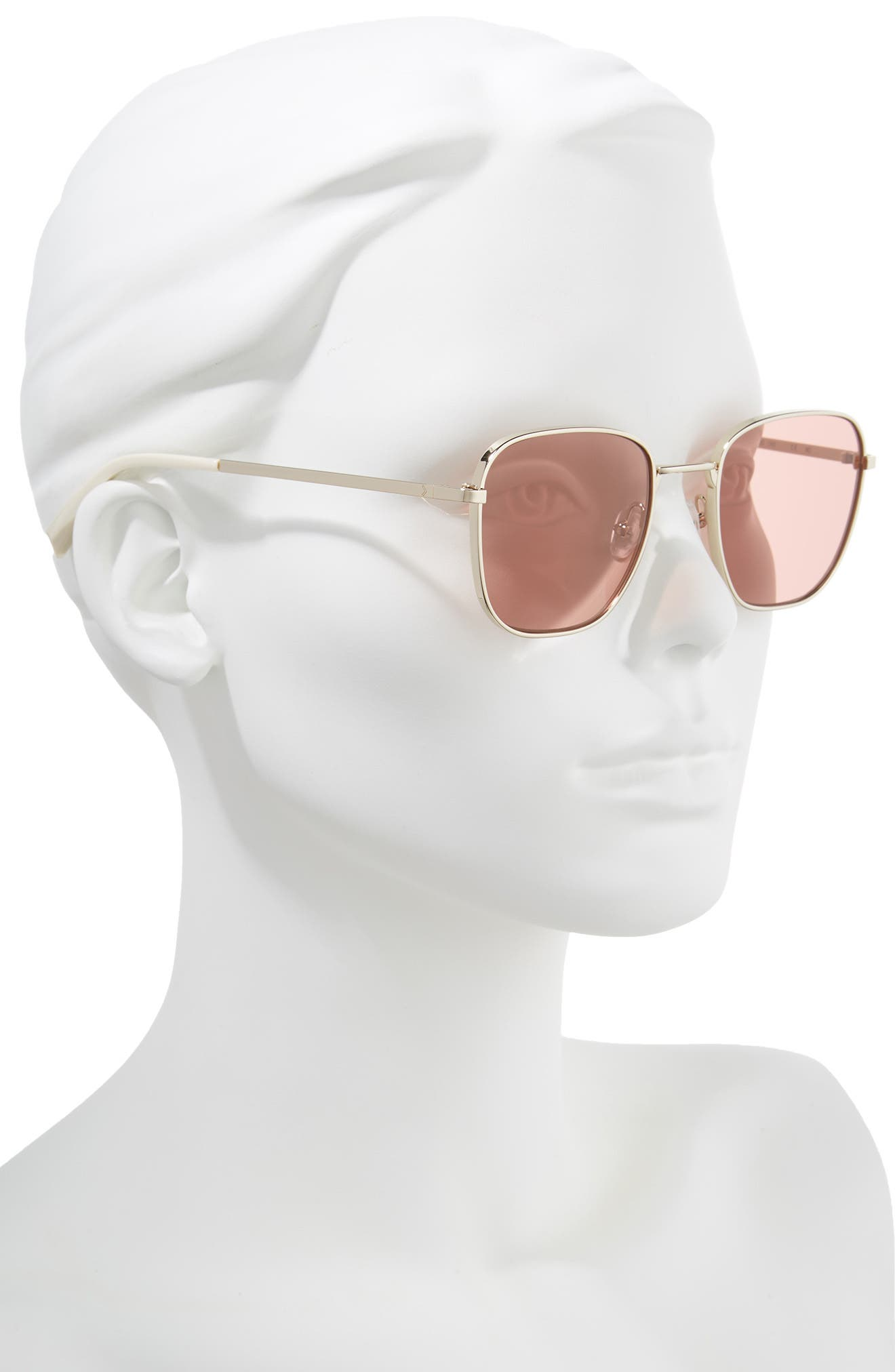 Dana 50mm Square Sunglasses,                             Alternate thumbnail 2, color,                             LIGHT GOLD/ PINK ROSE