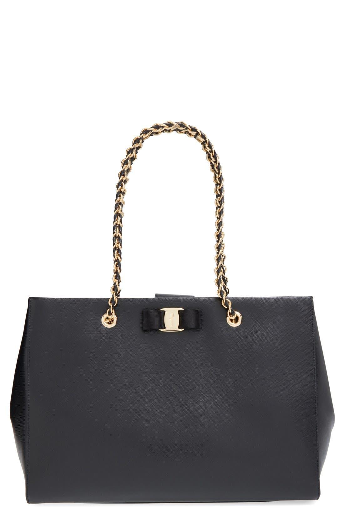 Saffiano Leather Bow Shopper,                         Main,                         color, 001