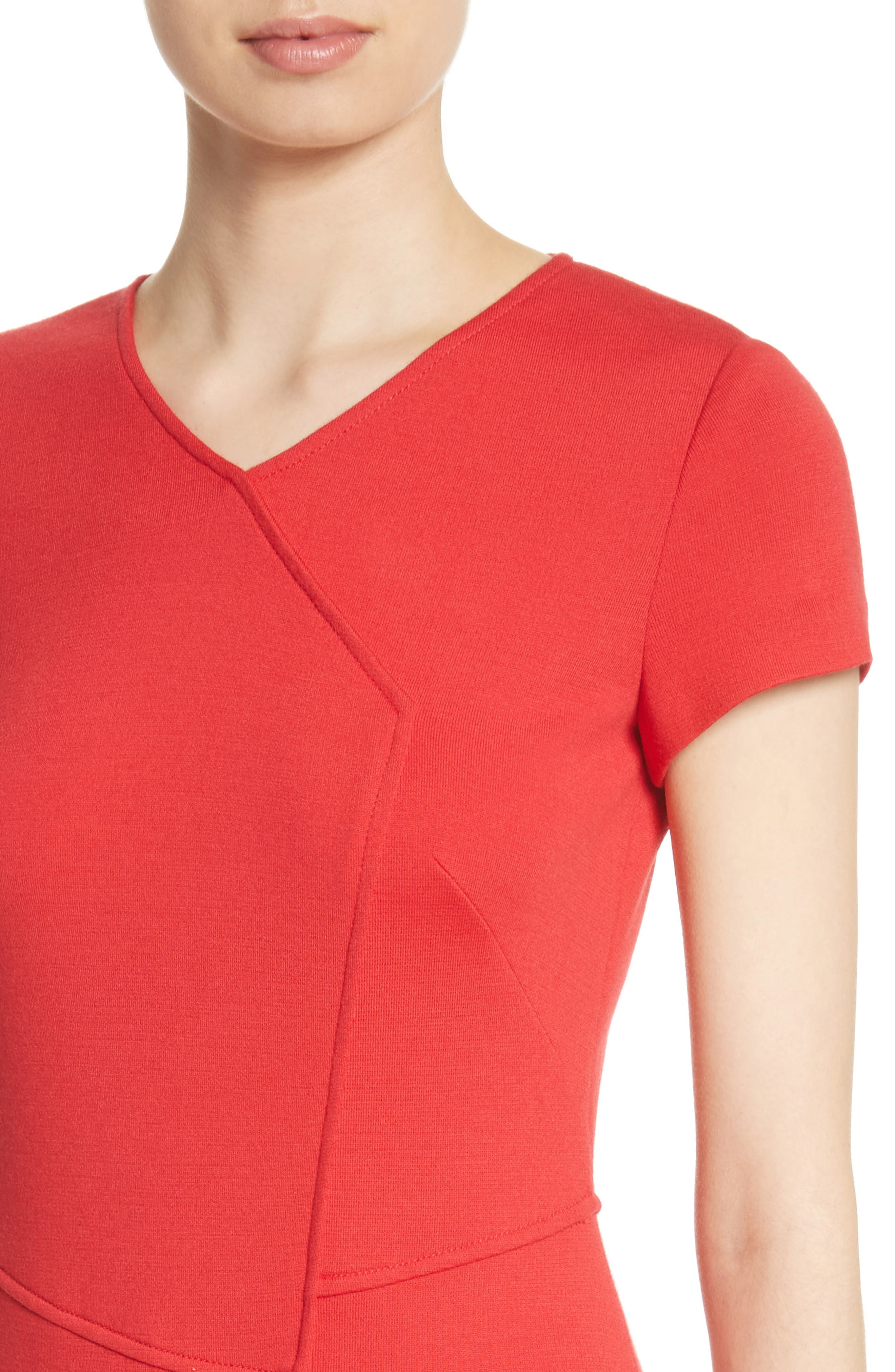 Flap Front Milano Knit Dress,                             Alternate thumbnail 4, color,