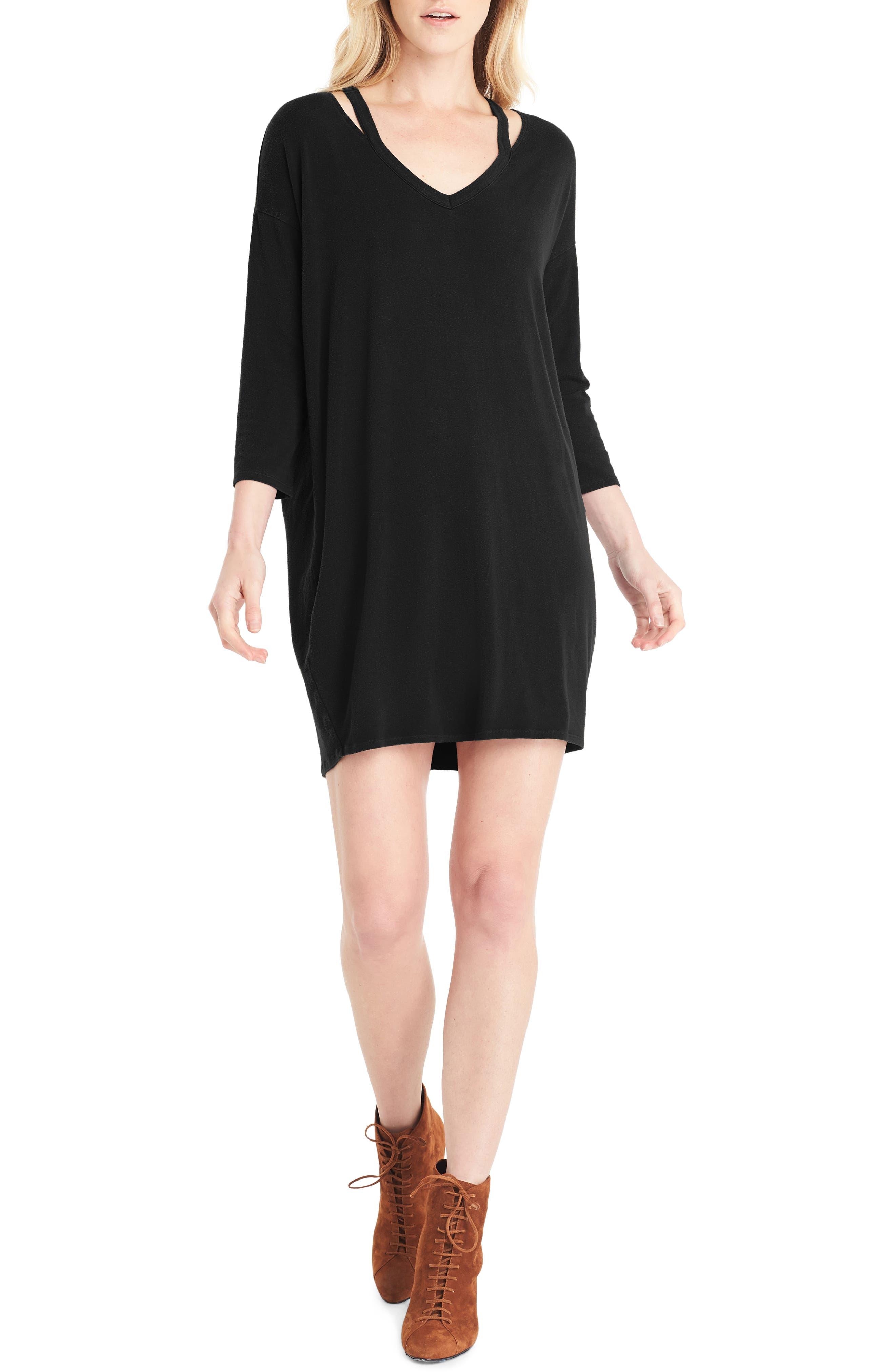 Slit Shoulder V-Neck Dress,                             Main thumbnail 1, color,                             001