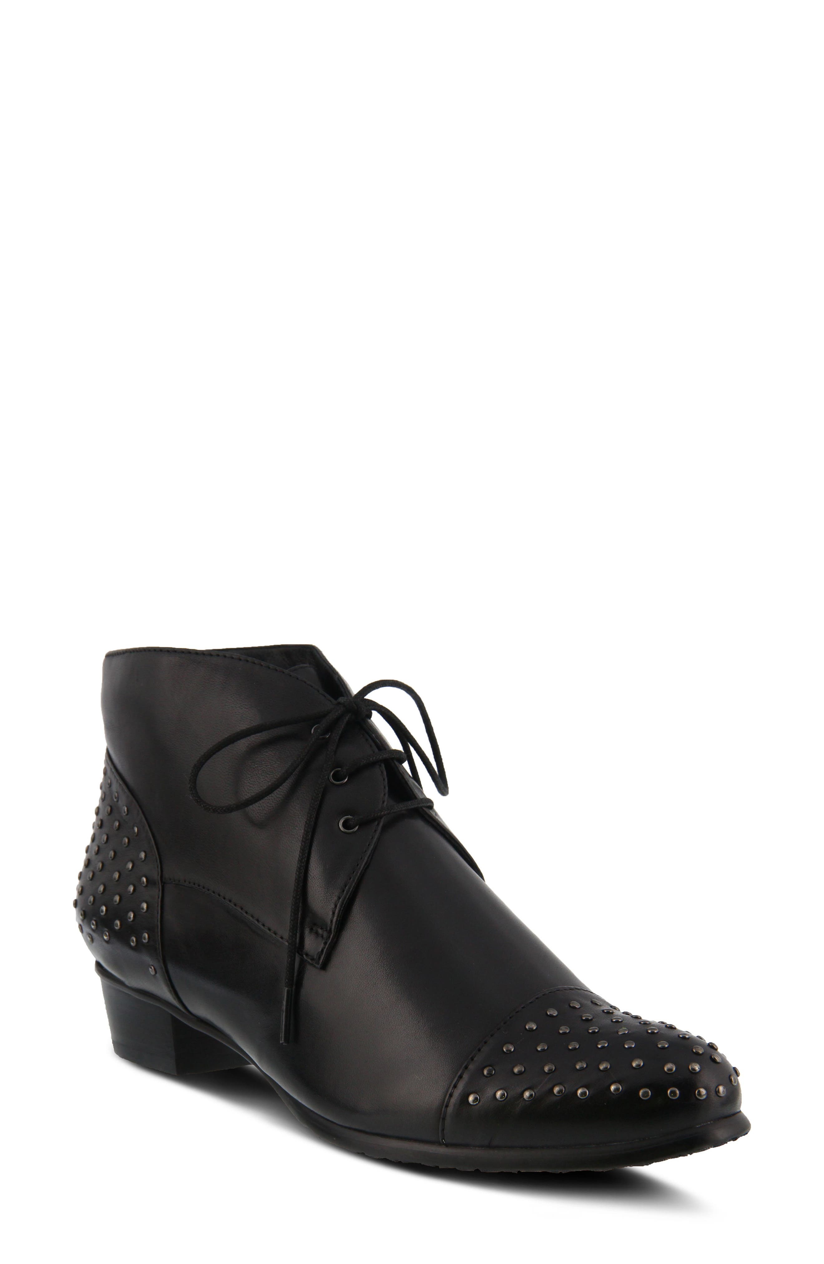 Giovanna Studded Bootie,                             Main thumbnail 1, color,                             BLACK LEATHER
