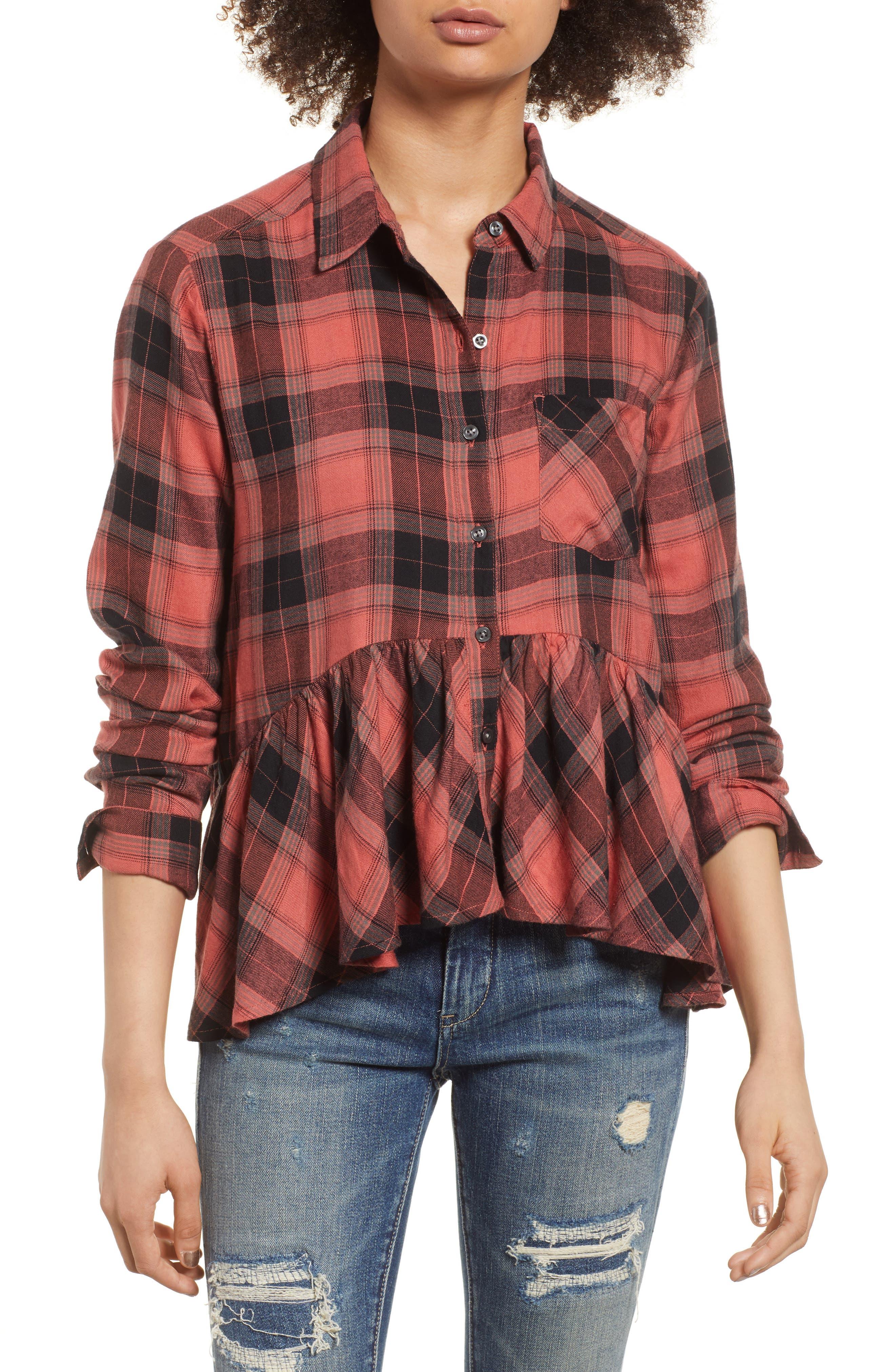 Plaid Peplum Shirt,                         Main,                         color, PINK CEDAR SKETCHY PLAID