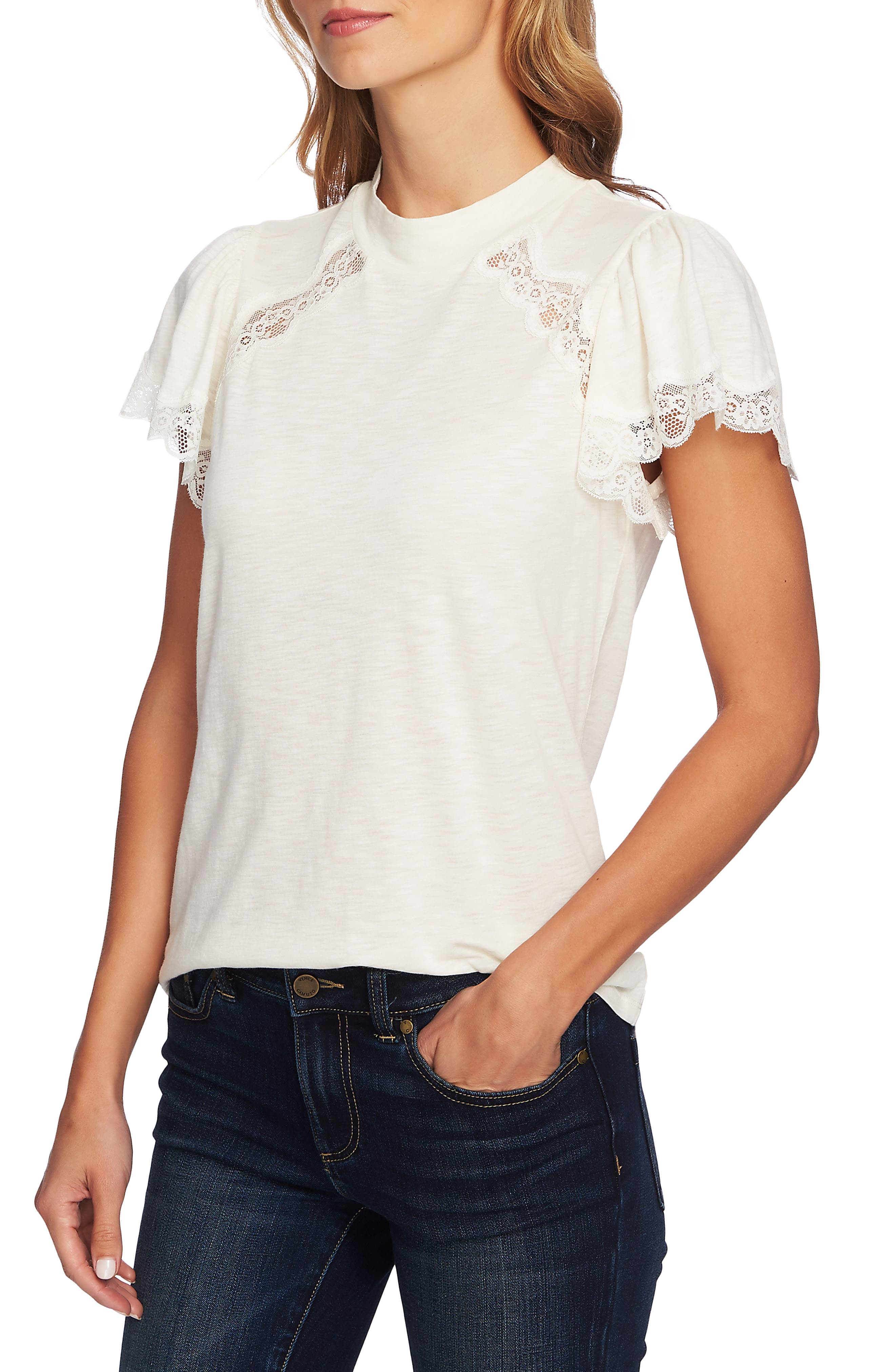 Mock Neck Knit & Lace Top,                             Alternate thumbnail 3, color,                             ANTIQUE WHITE