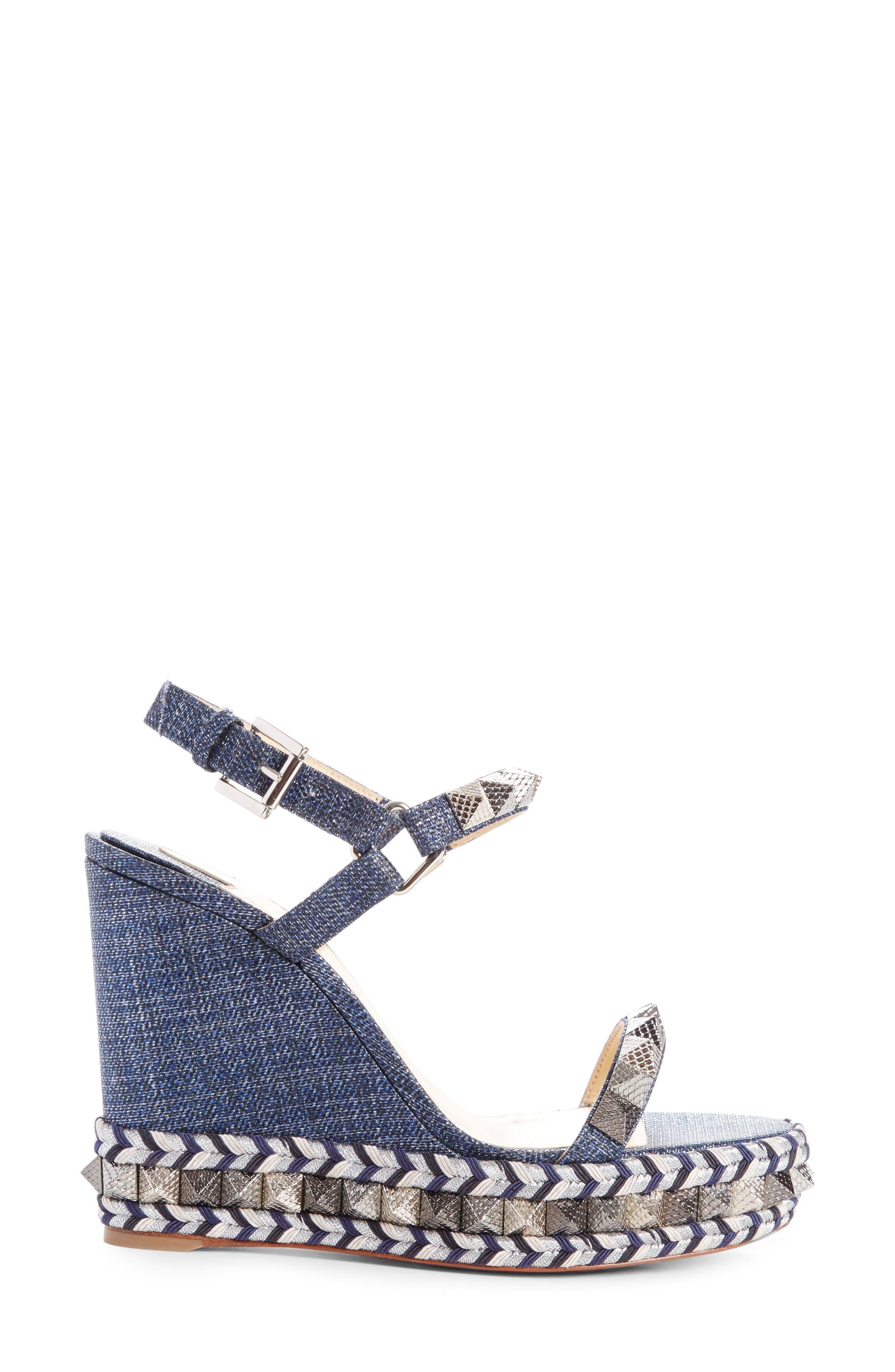 Pyraclou Studded Platform Wedge Sandal,                             Alternate thumbnail 3, color,                             DENIM