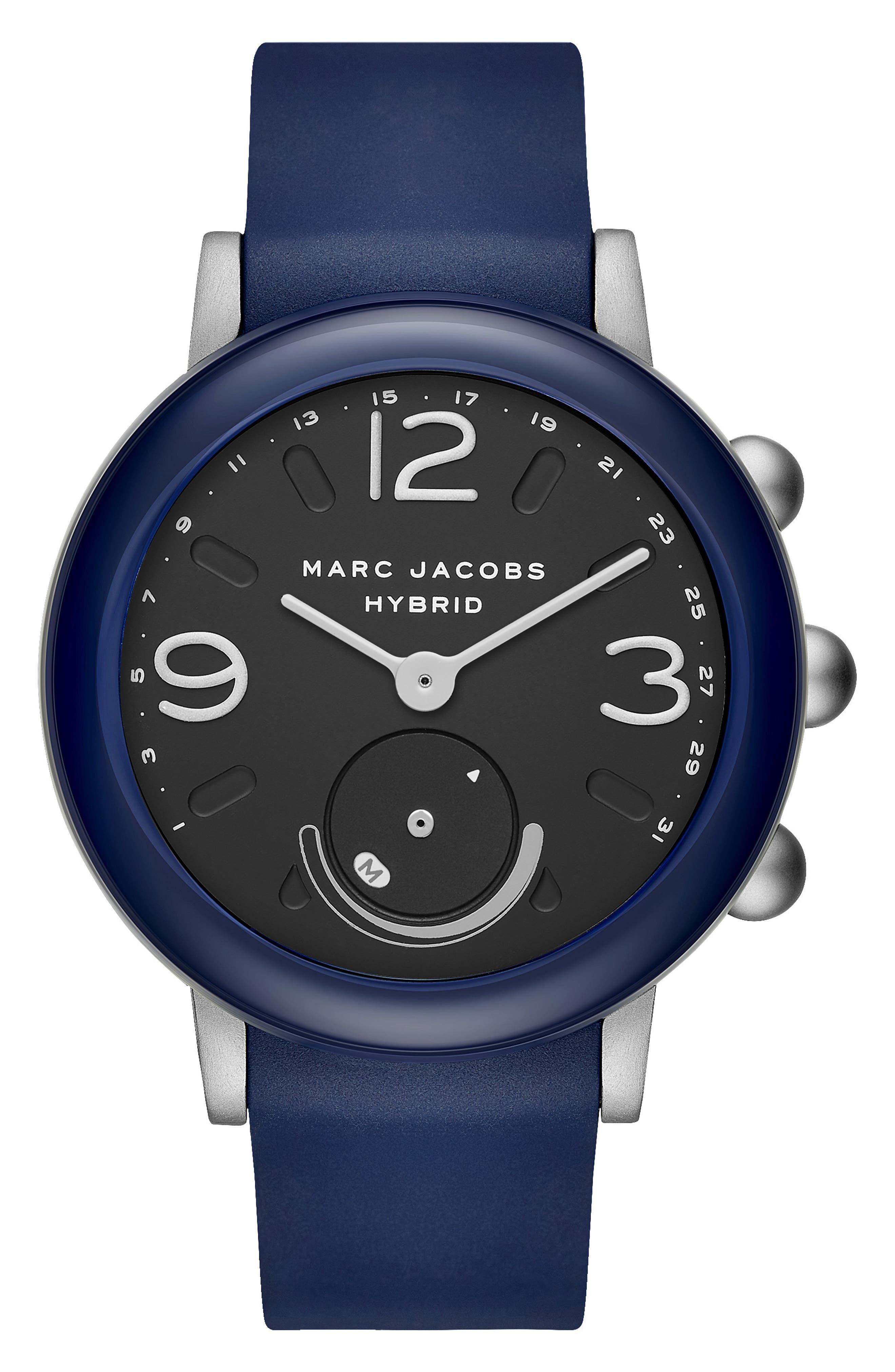 Riley Hybrid Rubber Strap Smart Watch, 44mm,                             Main thumbnail 1, color,                             NAVY/ BLACK/ NAVY