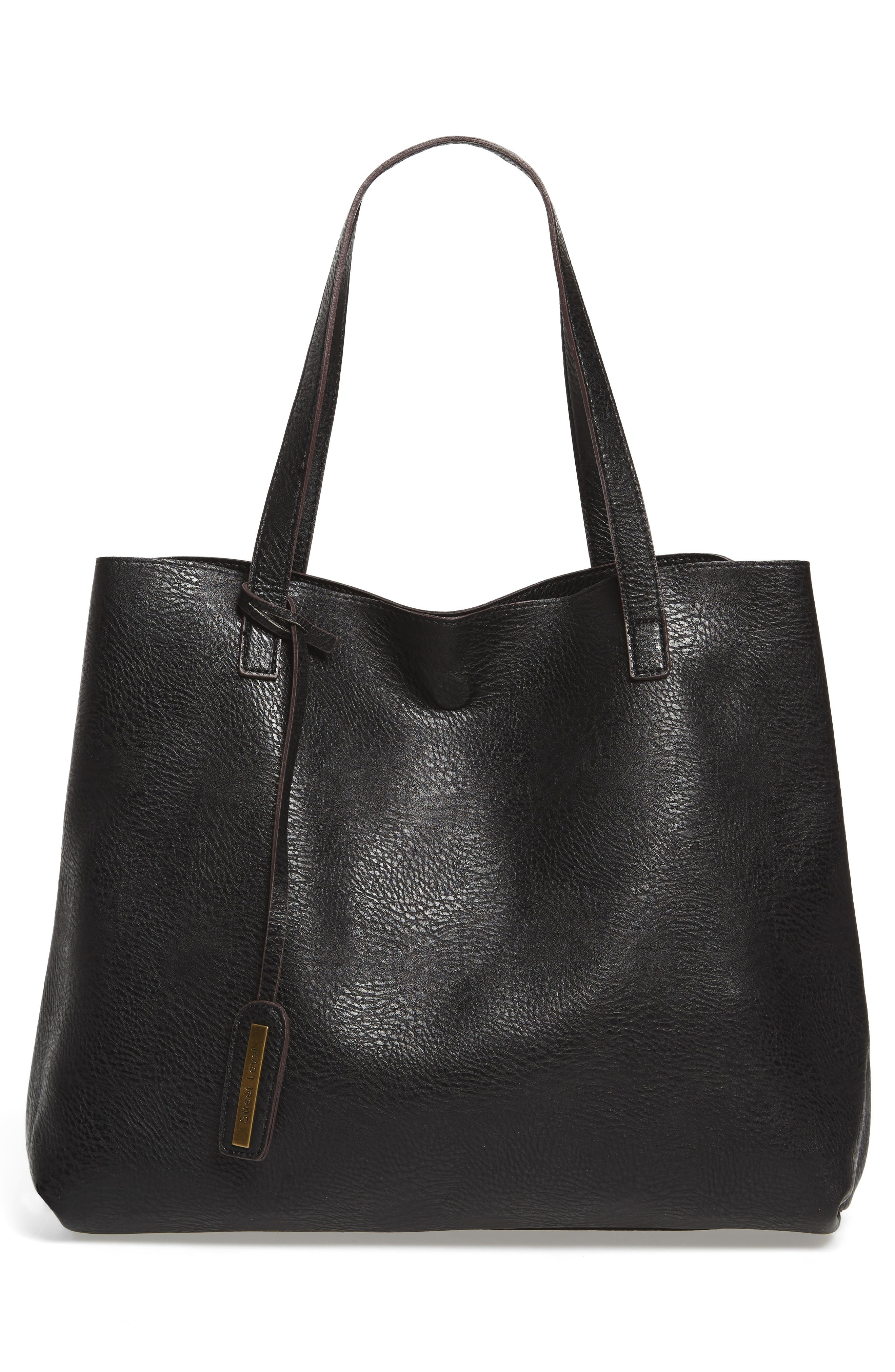 Reversible Textured Faux Leather Tote,                             Alternate thumbnail 2, color,                             001