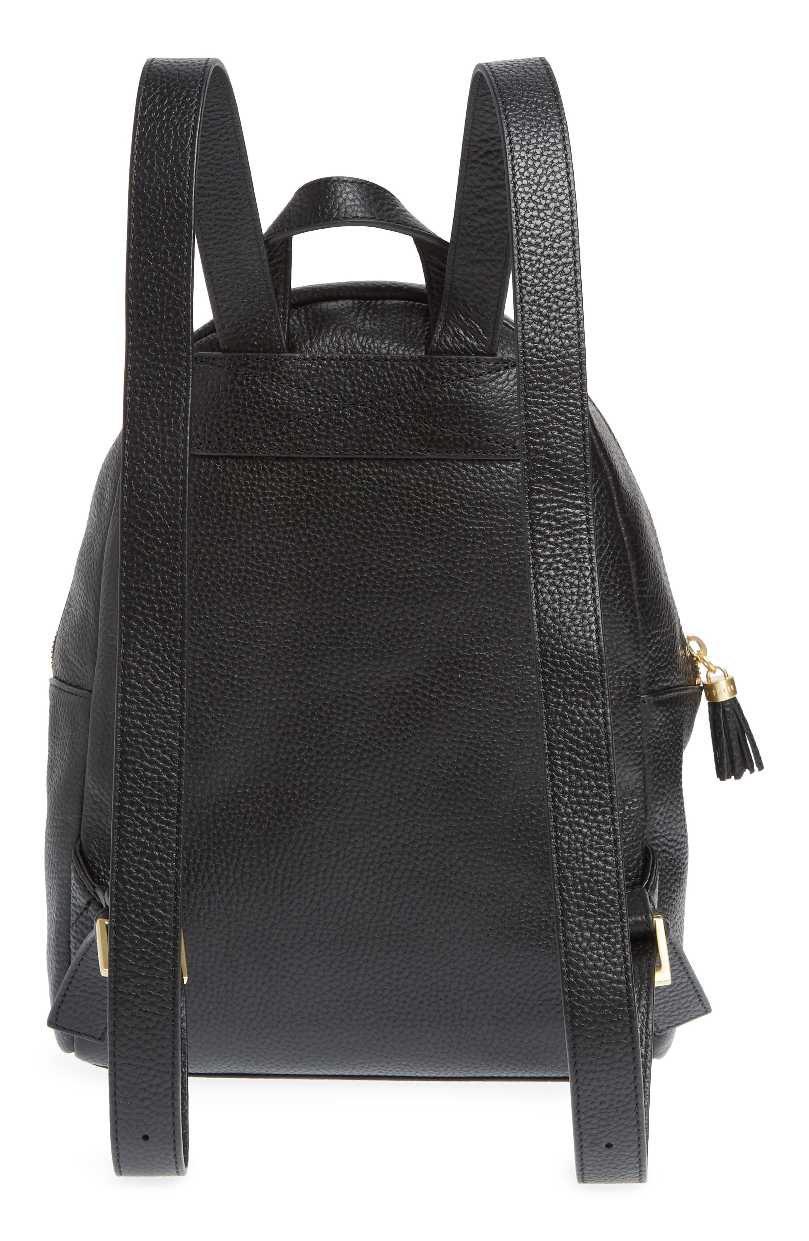 Leather Backpack,                             Alternate thumbnail 3, color,                             BLACK