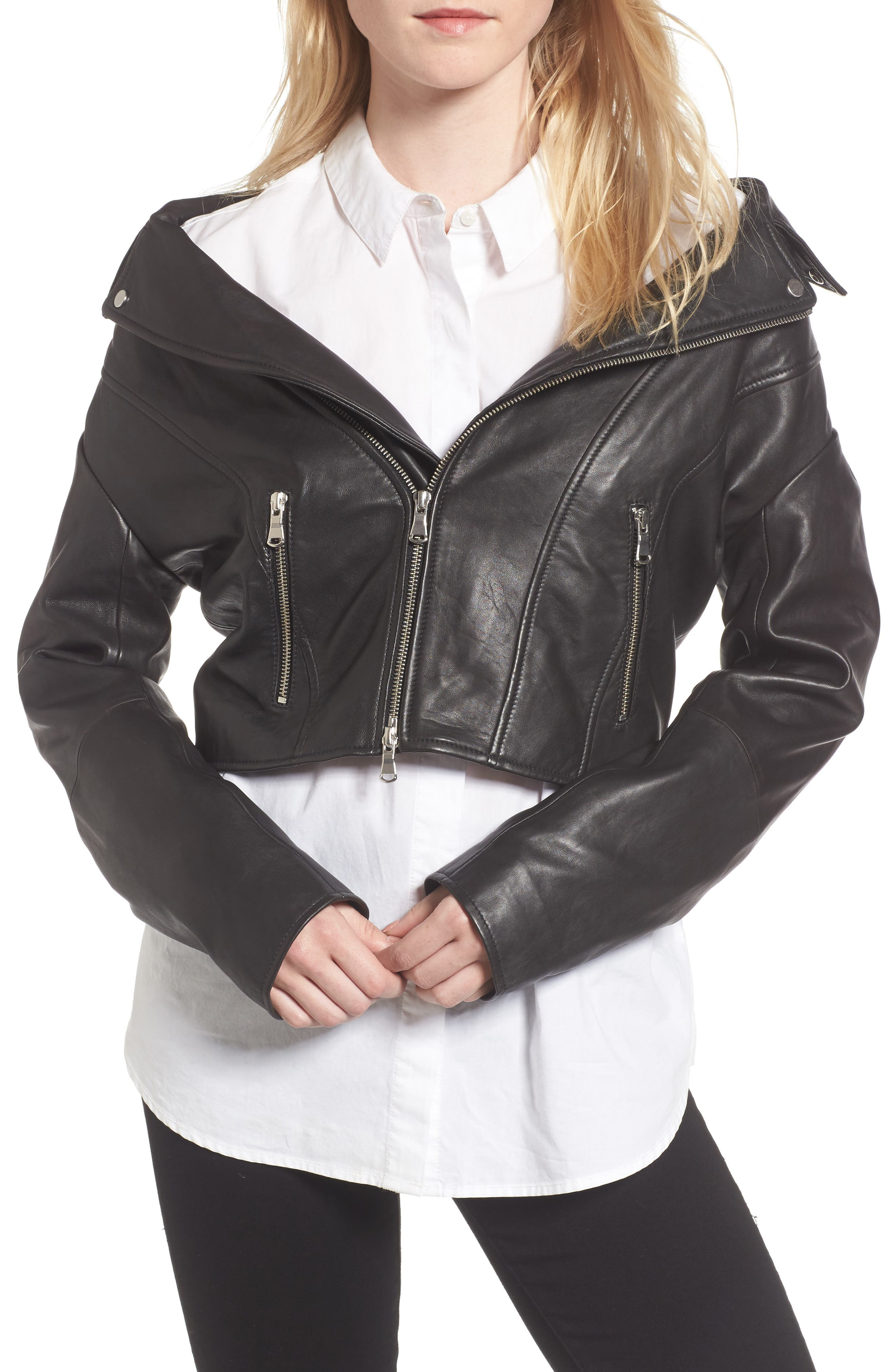 Off the Shoulder Leather Moto Jacket,                             Main thumbnail 1, color,                             001