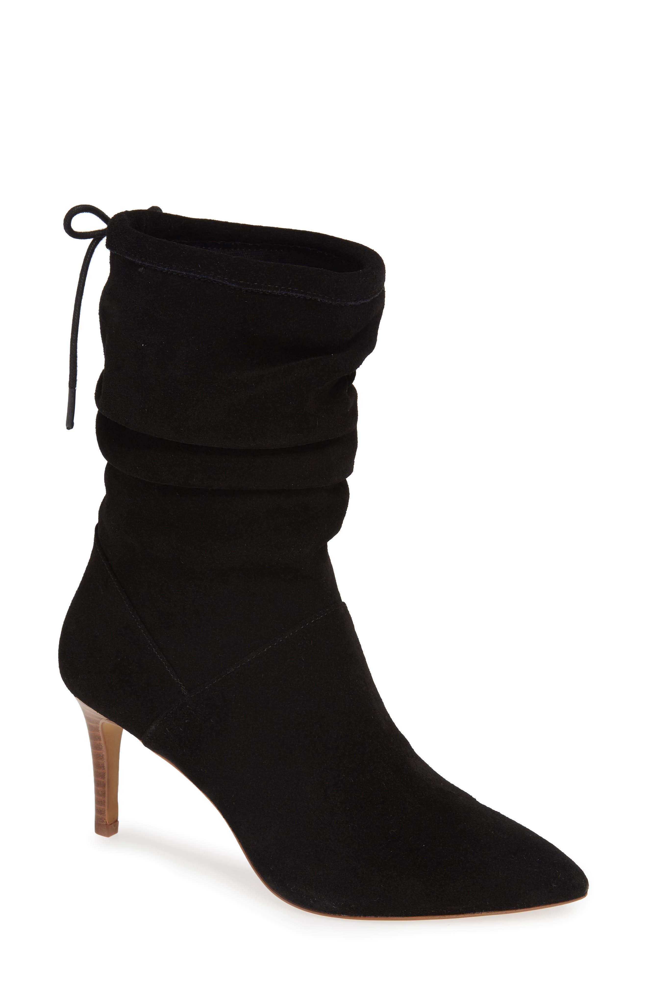 Natthan Slouchy Bootie, Main, color, BLACK SUEDE