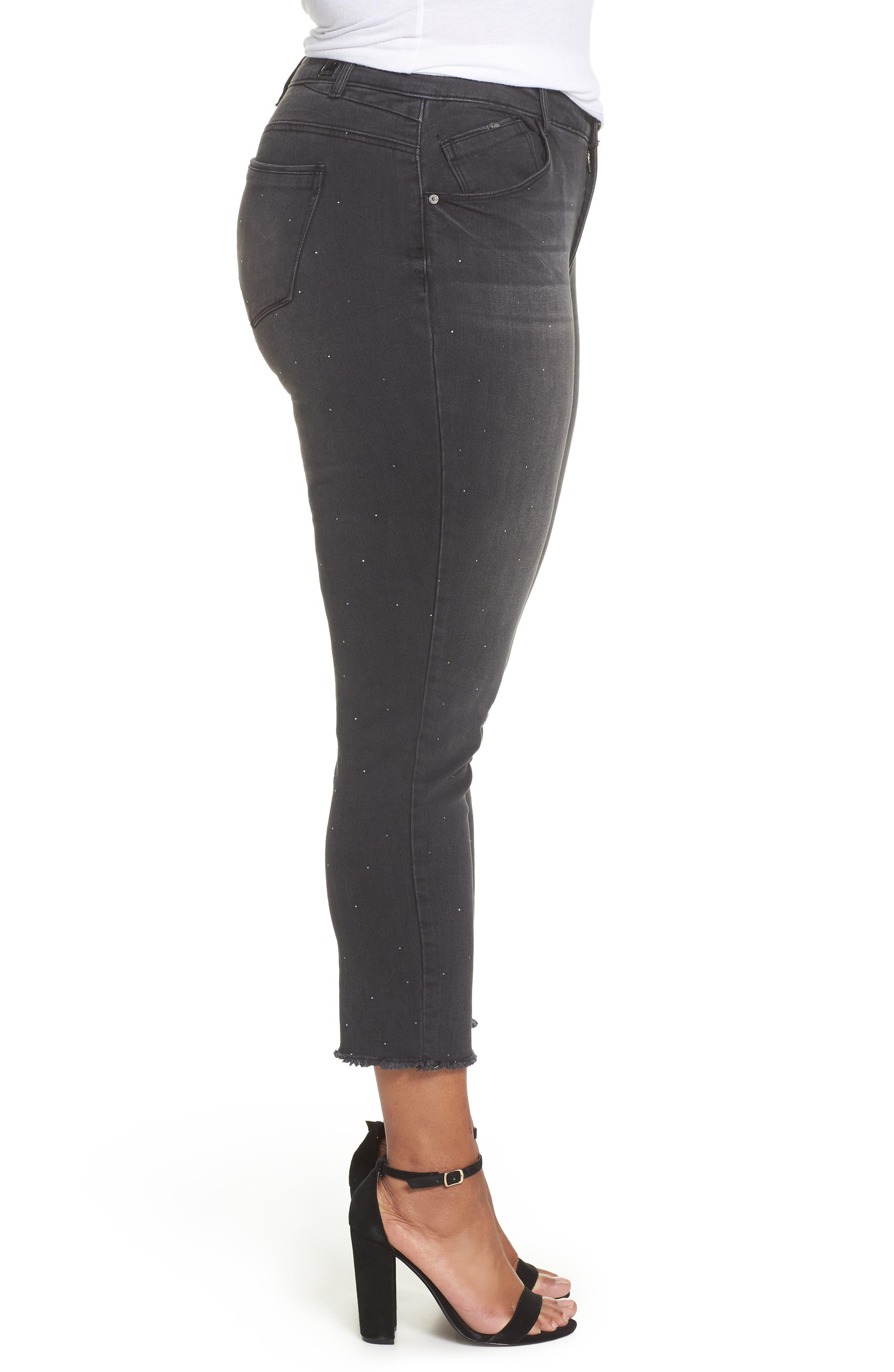 Ab-Solution Embellished Ankle Jeans,                             Alternate thumbnail 3, color,                             BLACK