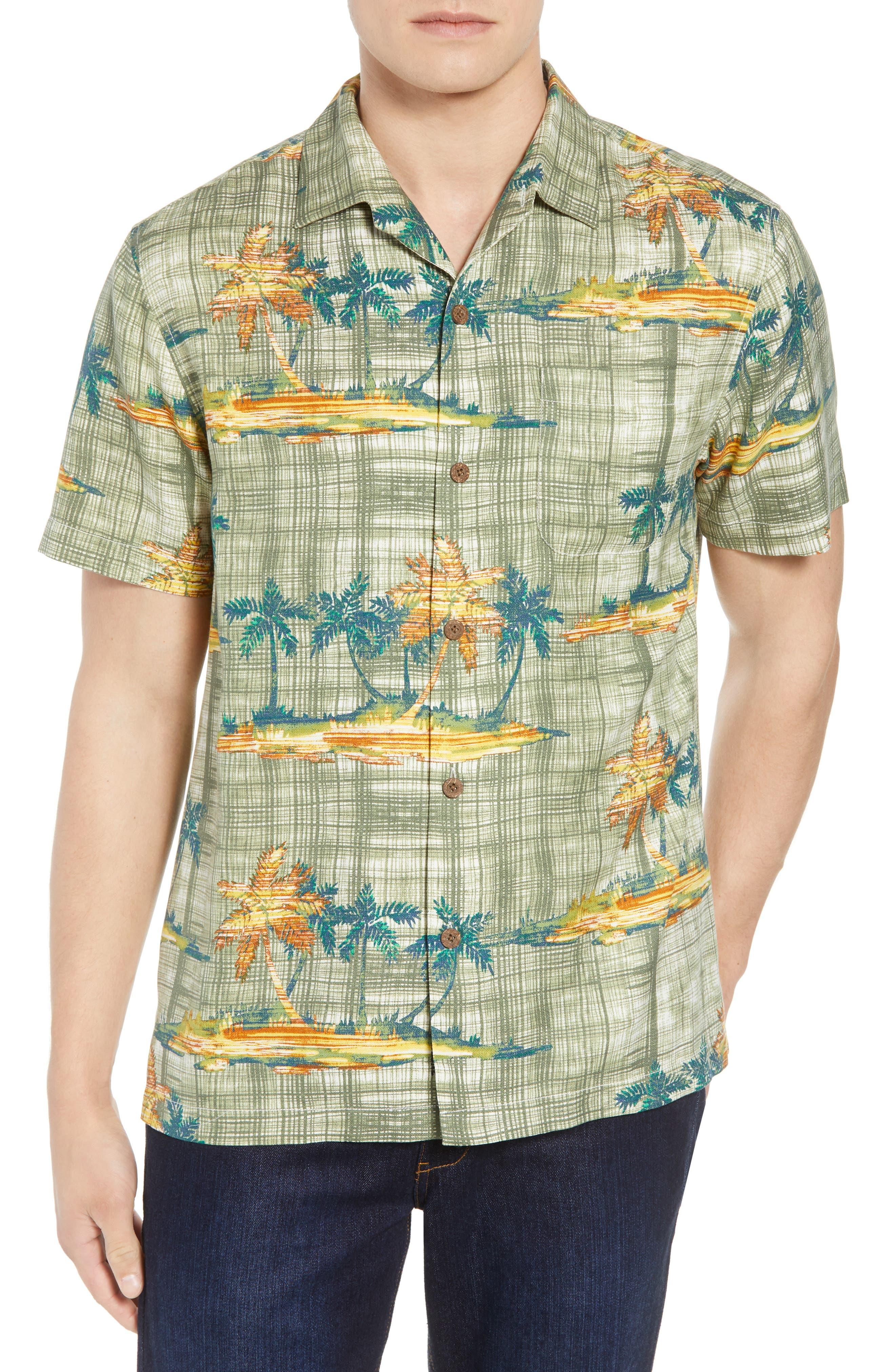 Zama Palms Silk Blend Camp Shirt,                             Main thumbnail 1, color,
