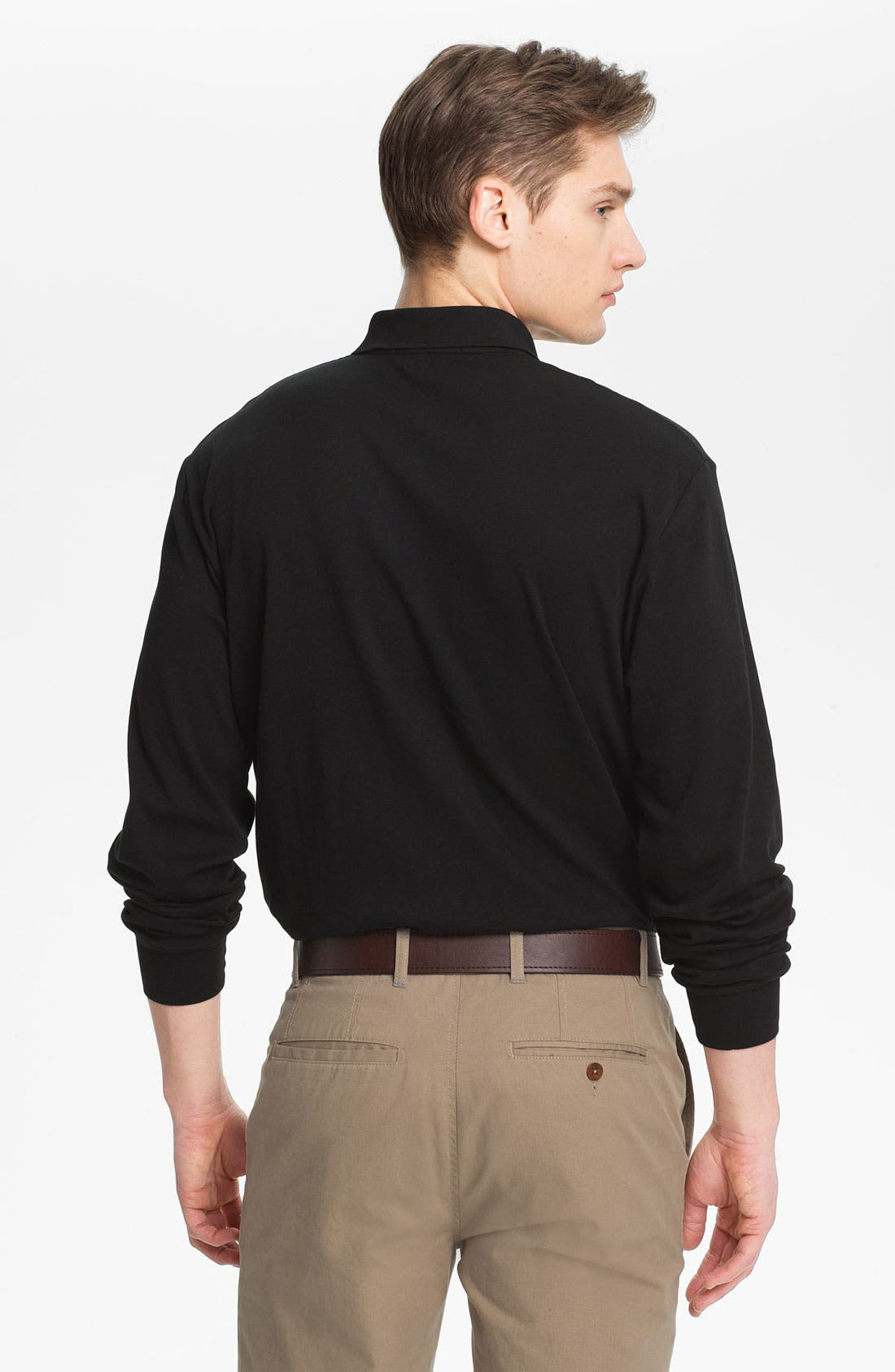 Classic Fit Long Sleeve Polo,                             Alternate thumbnail 3, color,                             001