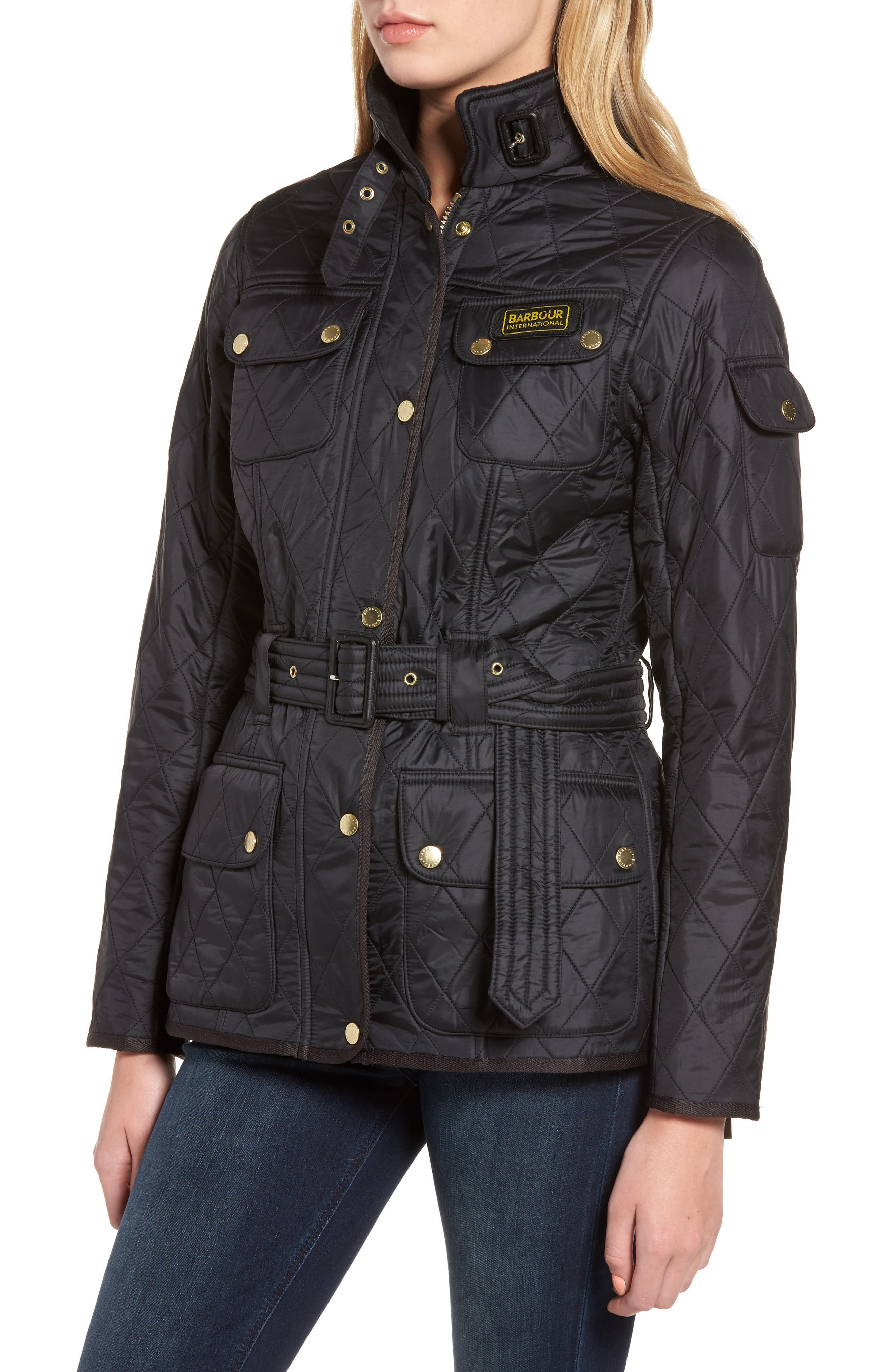 Water Resistant Polarquilt Moto Jacket,                             Alternate thumbnail 4, color,                             BLACK / BLACK