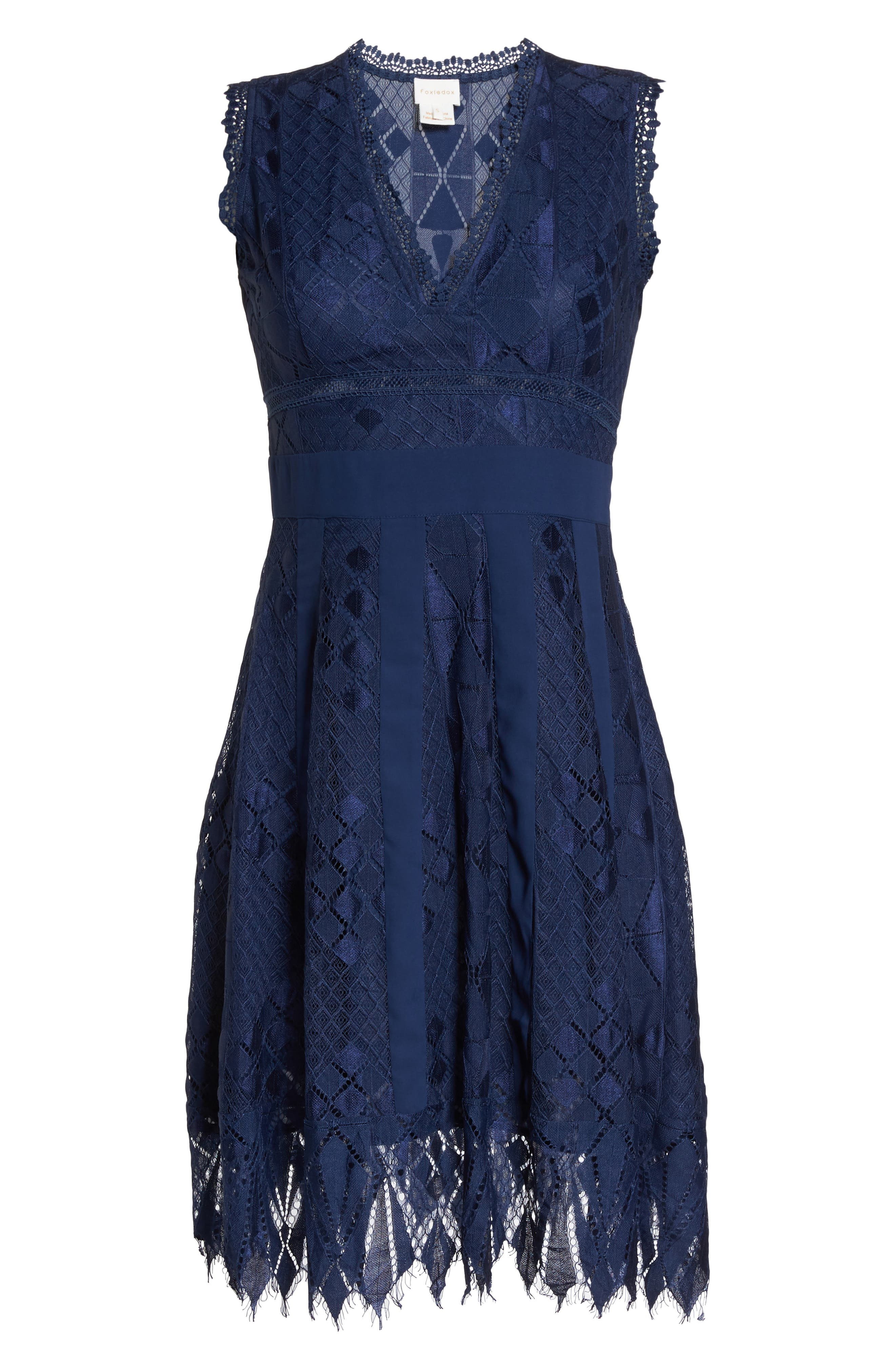 Juliet Sleeveless Lace Dress,                             Alternate thumbnail 6, color,                             NAVY