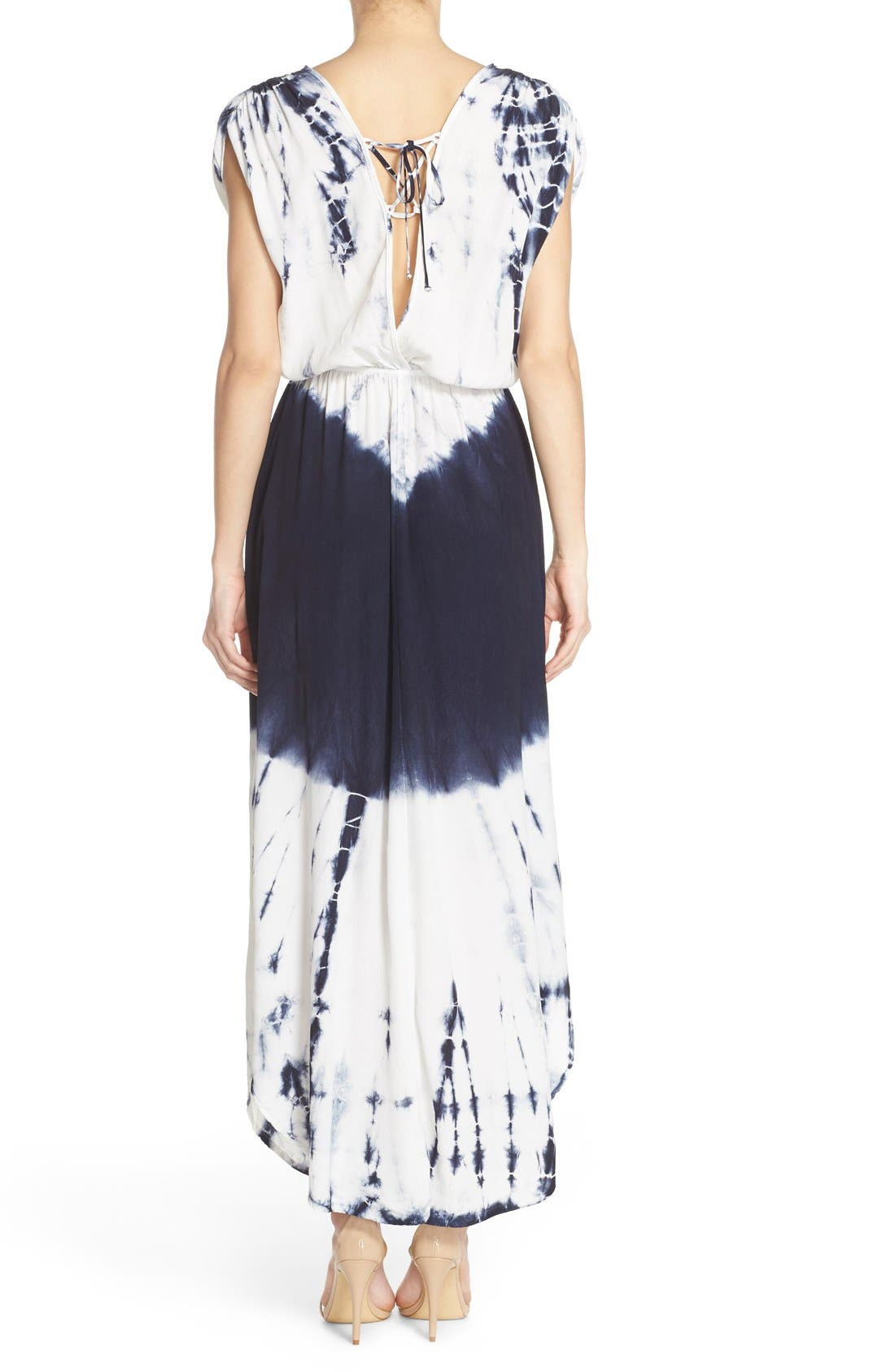 Tie Dye Crepe Maxi Dress,                             Alternate thumbnail 2, color,                             INDIGO