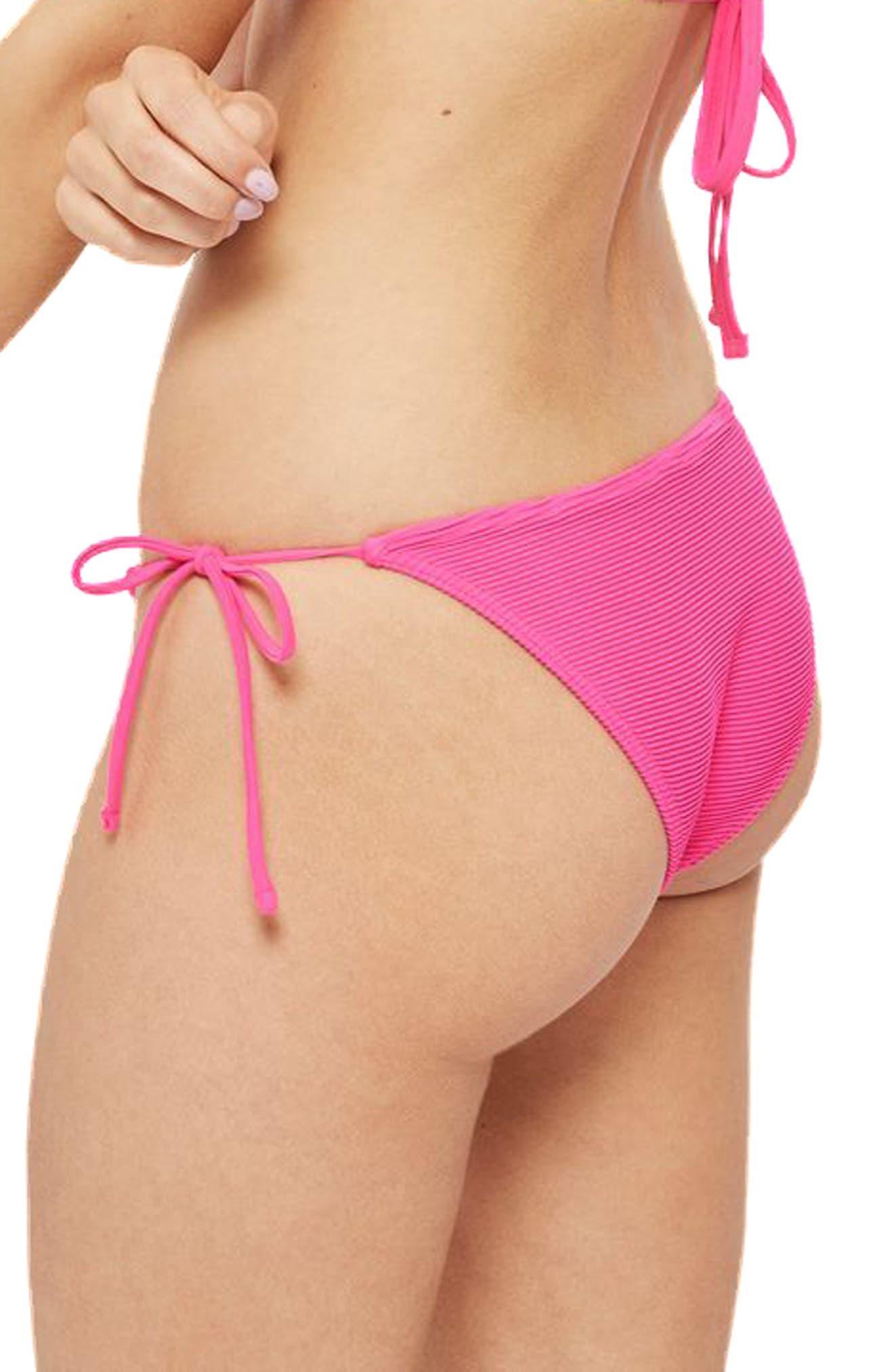 Ribbed Tie Bikini Bottoms,                             Alternate thumbnail 4, color,