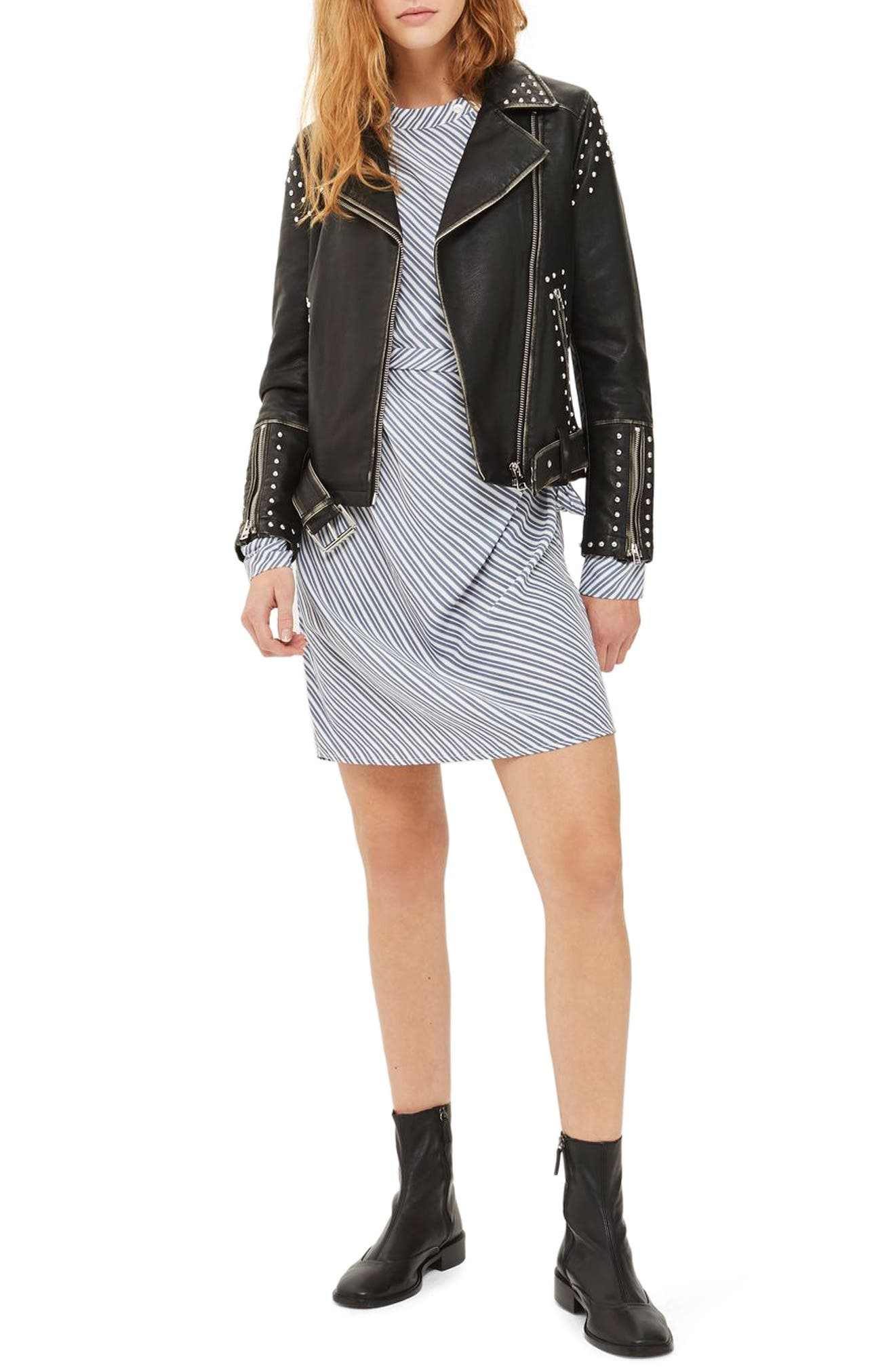 Naomi Studded Faux Leather Biker Jacket,                         Main,                         color, 001