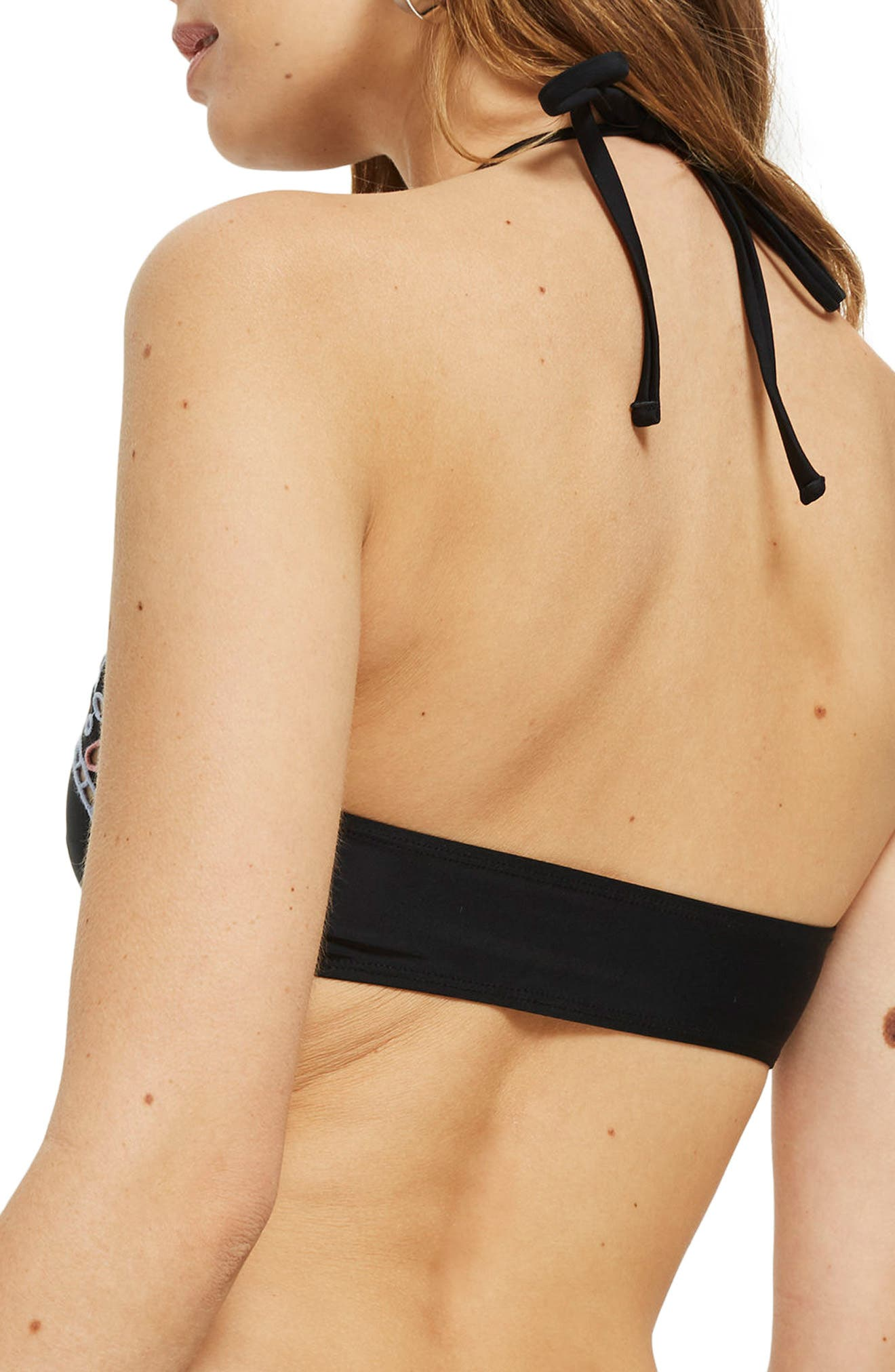 Cutout High Neck Bikini Top,                             Alternate thumbnail 2, color,                             001
