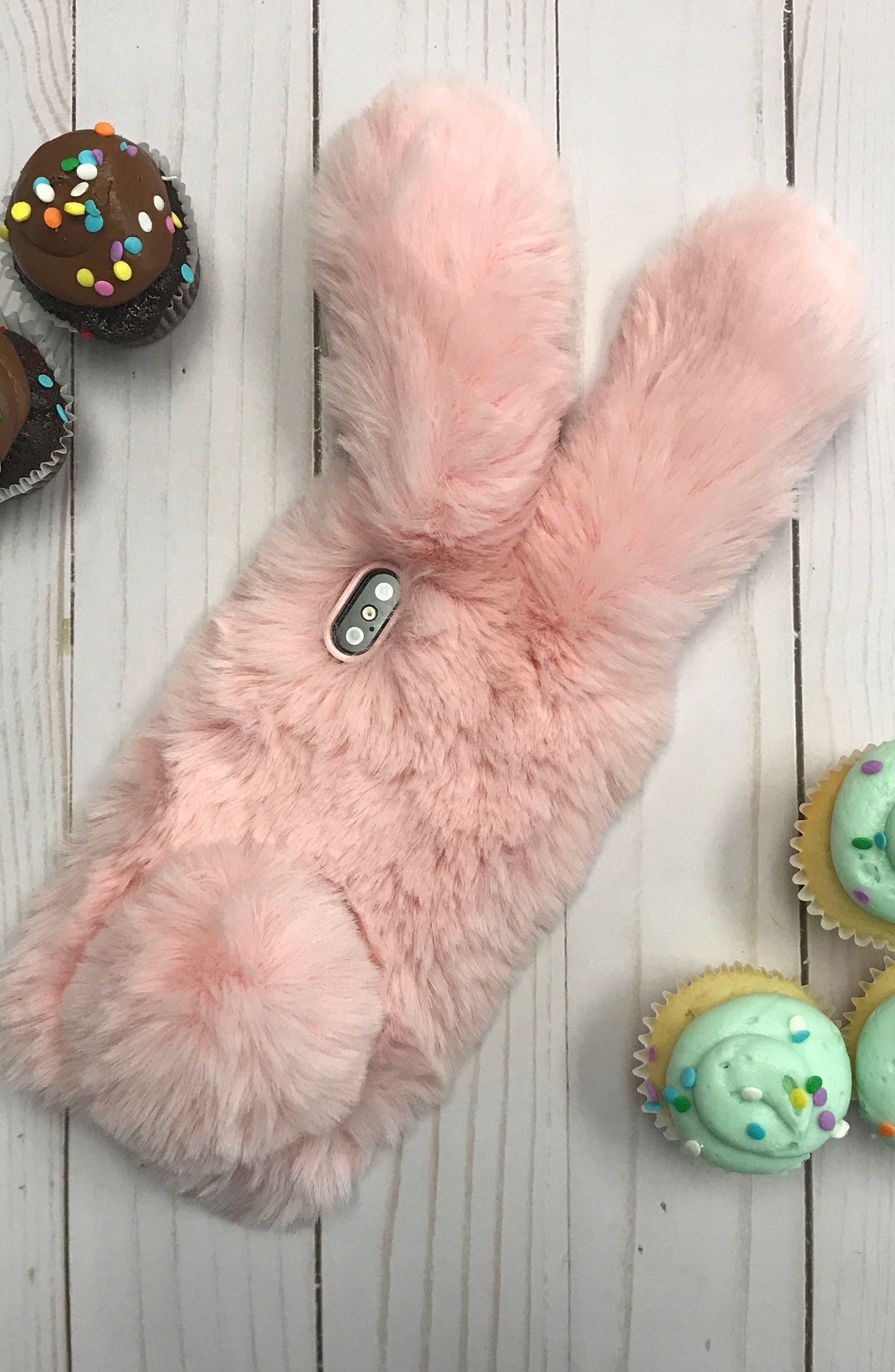 Bunny Faux Fur iPhone X Case,                             Alternate thumbnail 3, color,                             650