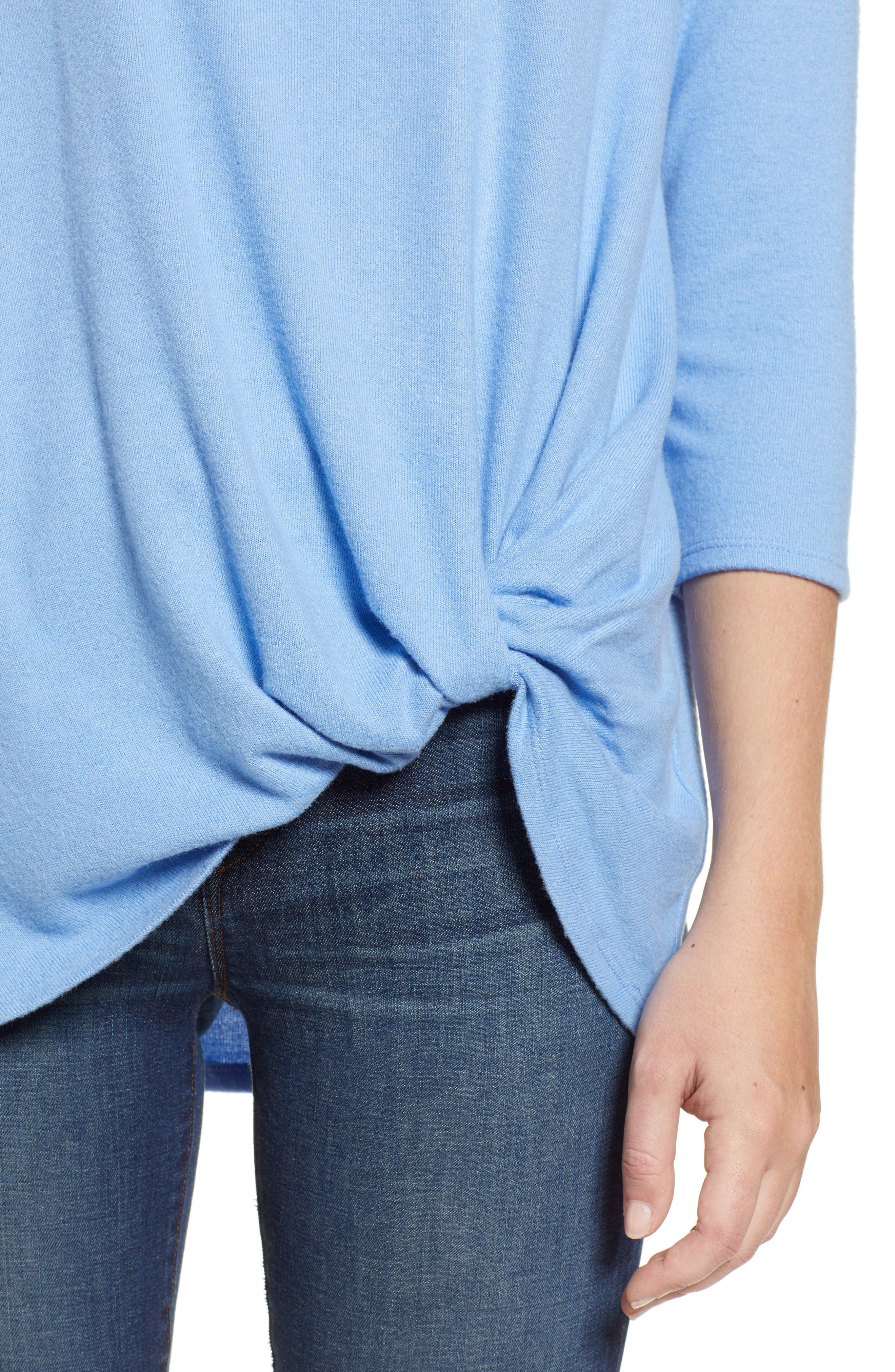 GIBSON,                             Cozy Twist Front Pullover,                             Alternate thumbnail 4, color,                             CORNFLOWER