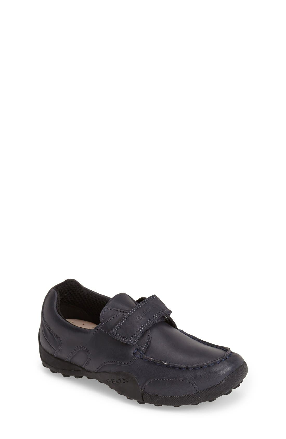 'Snake Moc 2' Leather Loafer,                             Main thumbnail 1, color,                             NAVY