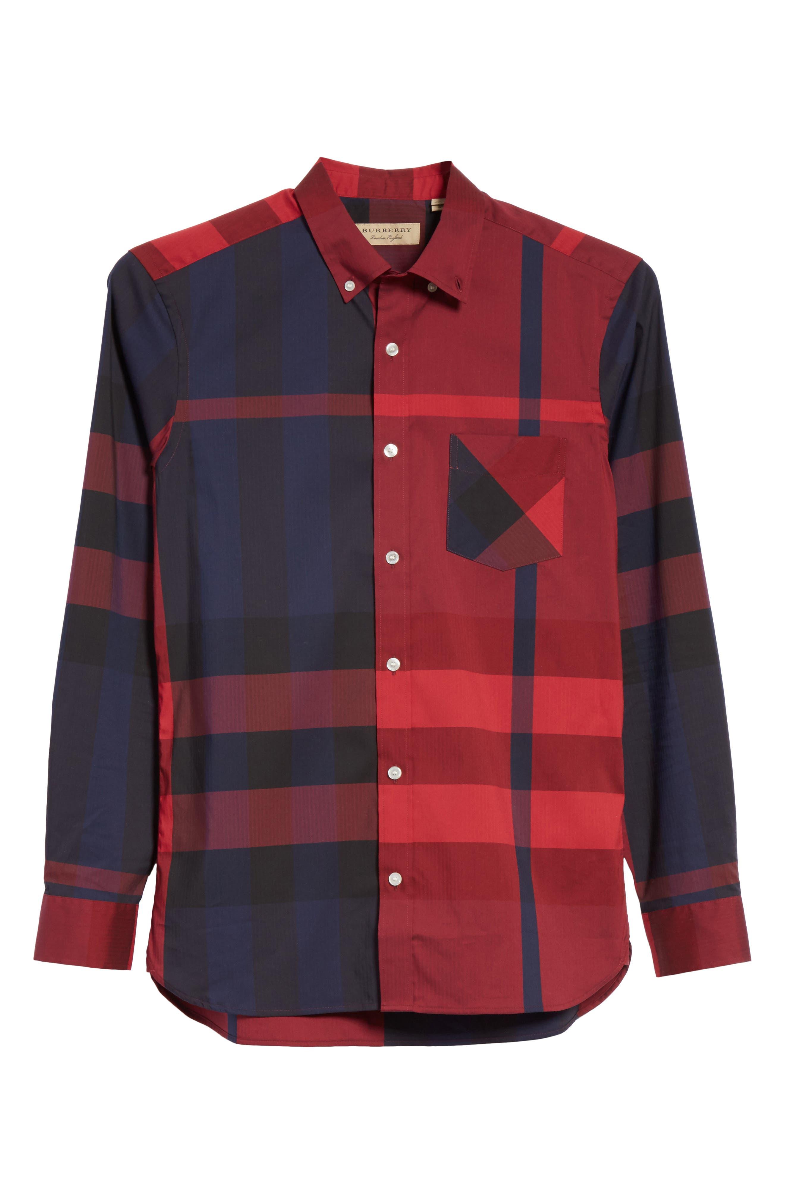 Thornaby Regular Fit Plaid Sport Shirt,                             Alternate thumbnail 6, color,