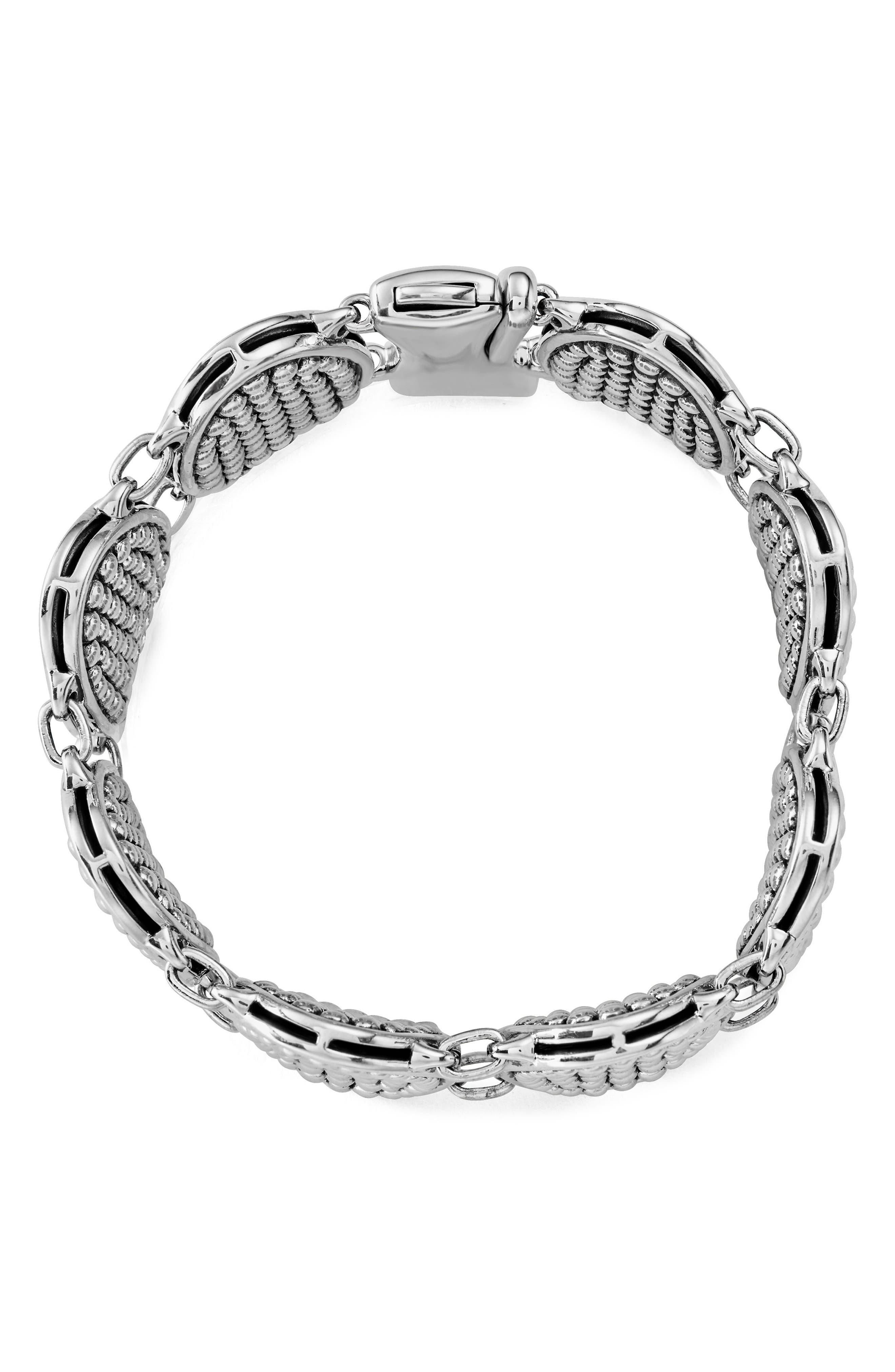 Signature Caviar Ellipse Link Bracelet,                             Alternate thumbnail 4, color,                             SILVER