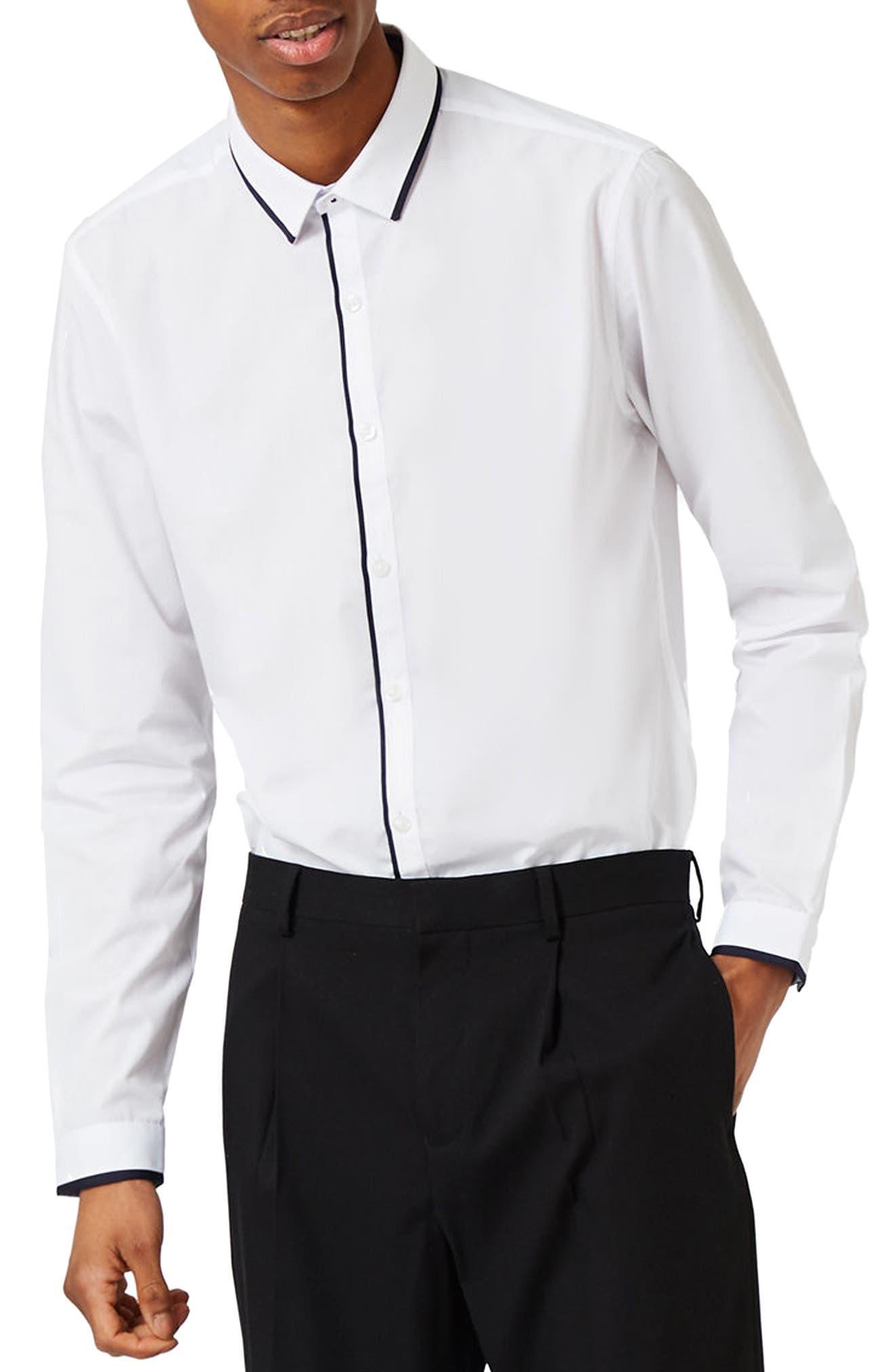 White Contrast Dress Shirt,                             Main thumbnail 1, color,                             100