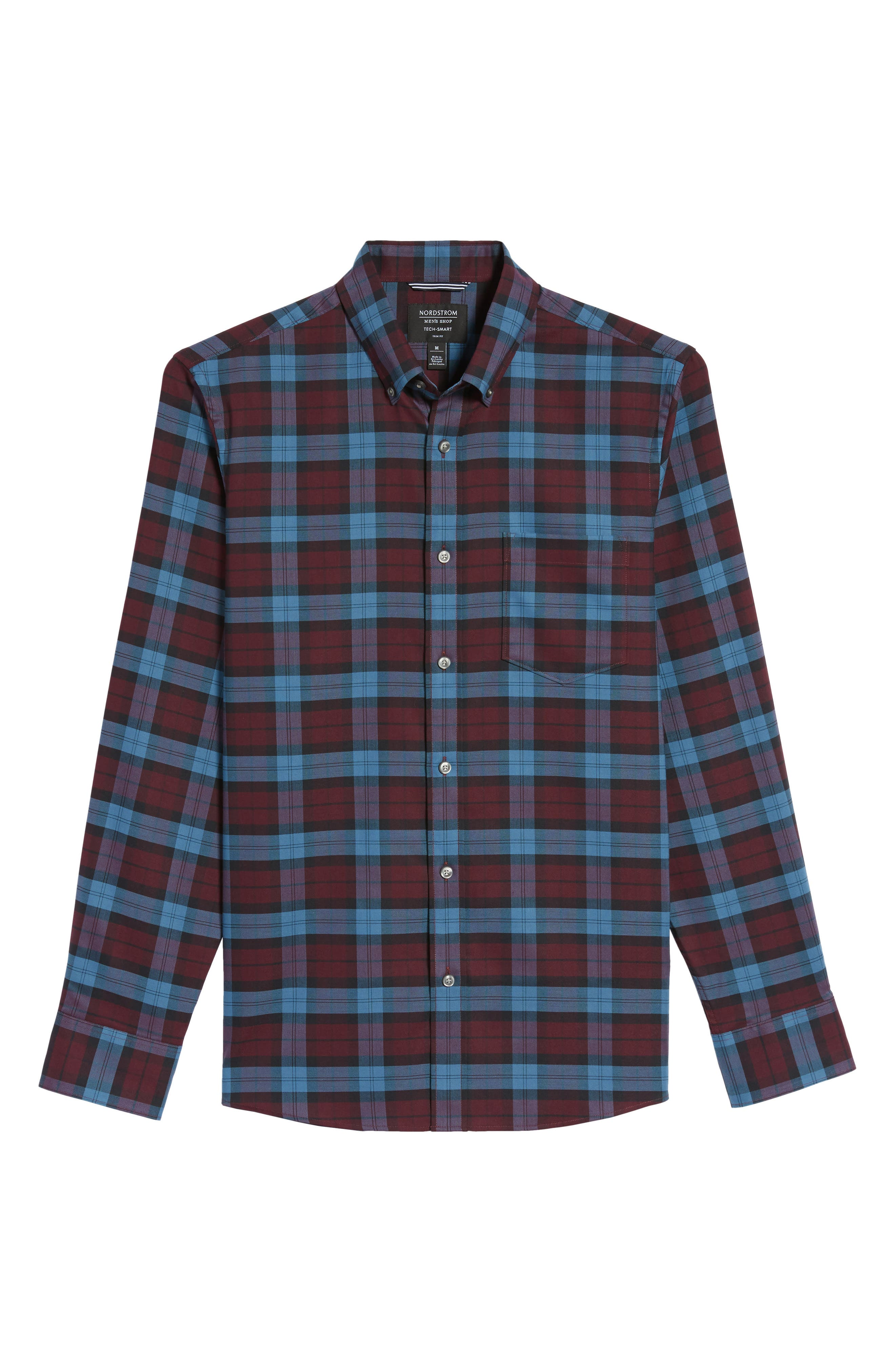 Tech-Smart Slim Fit Plaid Sport Shirt,                             Alternate thumbnail 6, color,
