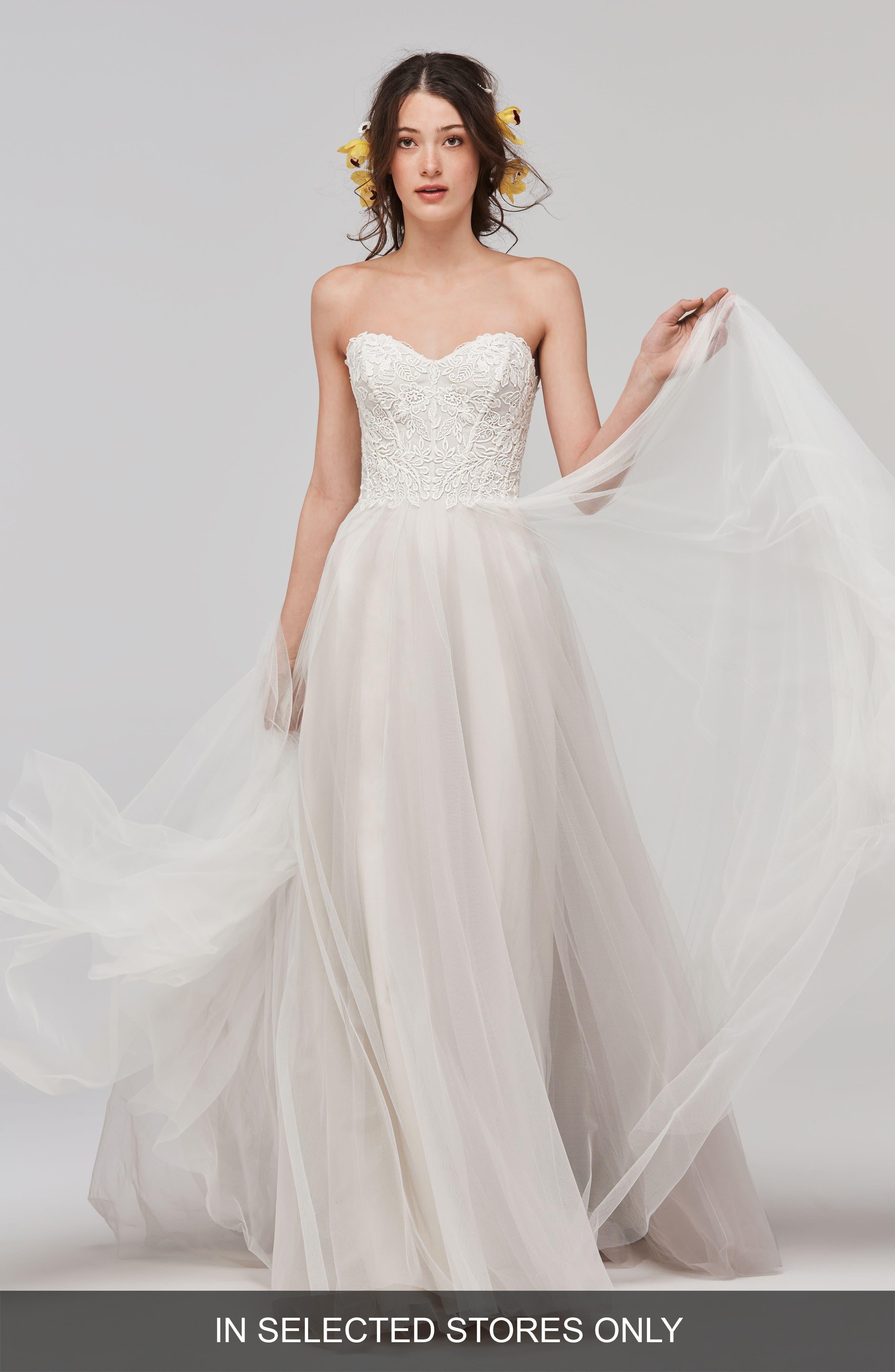 Mariposa Strapless Appliqué Net & Tulle Gown,                         Main,                         color, QUARTZ