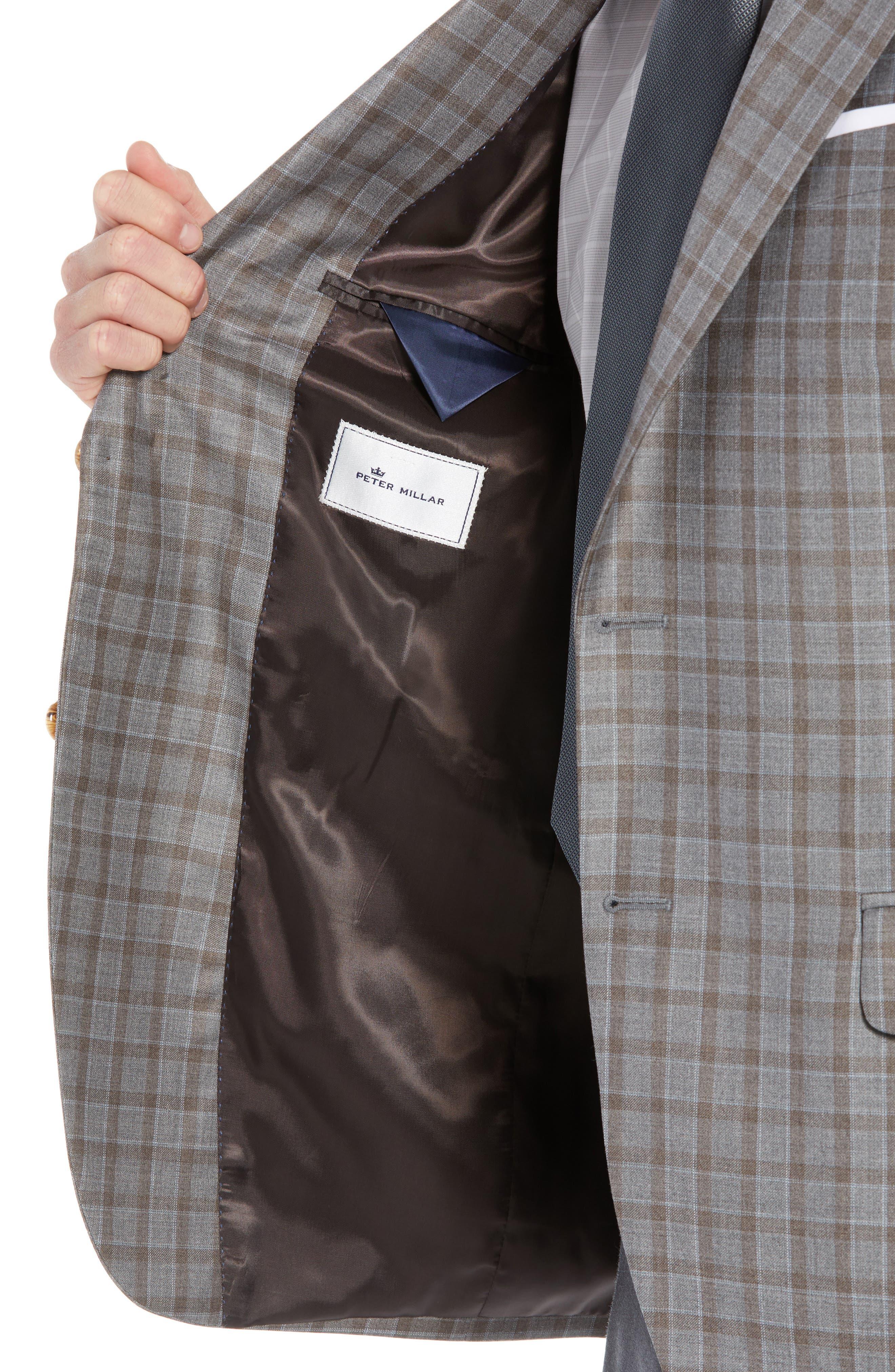 Flynn Classic Fit Check Wool Sport Coat,                             Alternate thumbnail 4, color,                             TAN