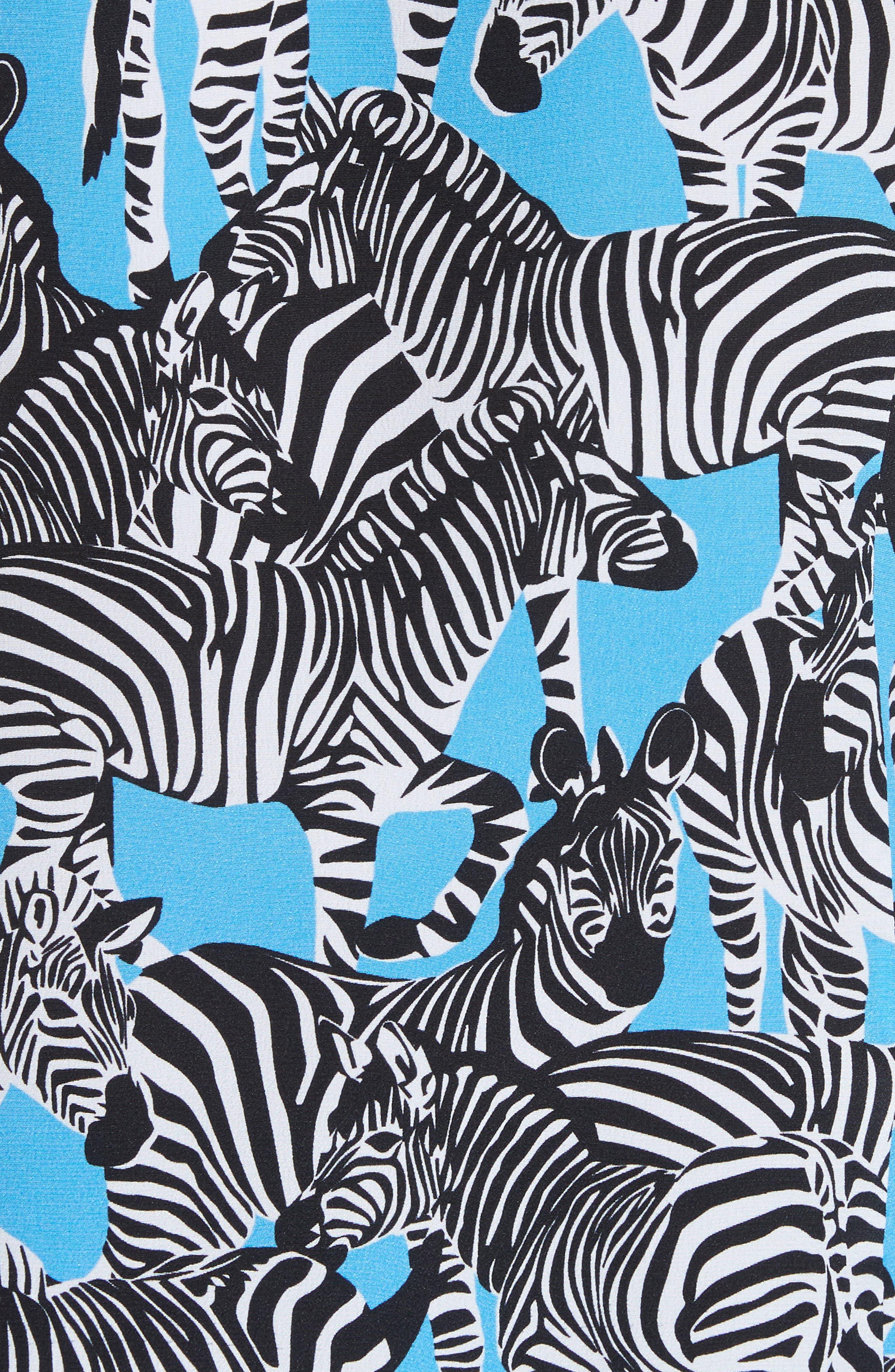 Zebra Print Crêpe de Chine Blouse,                             Alternate thumbnail 5, color,                             PORCELAIN MULTI