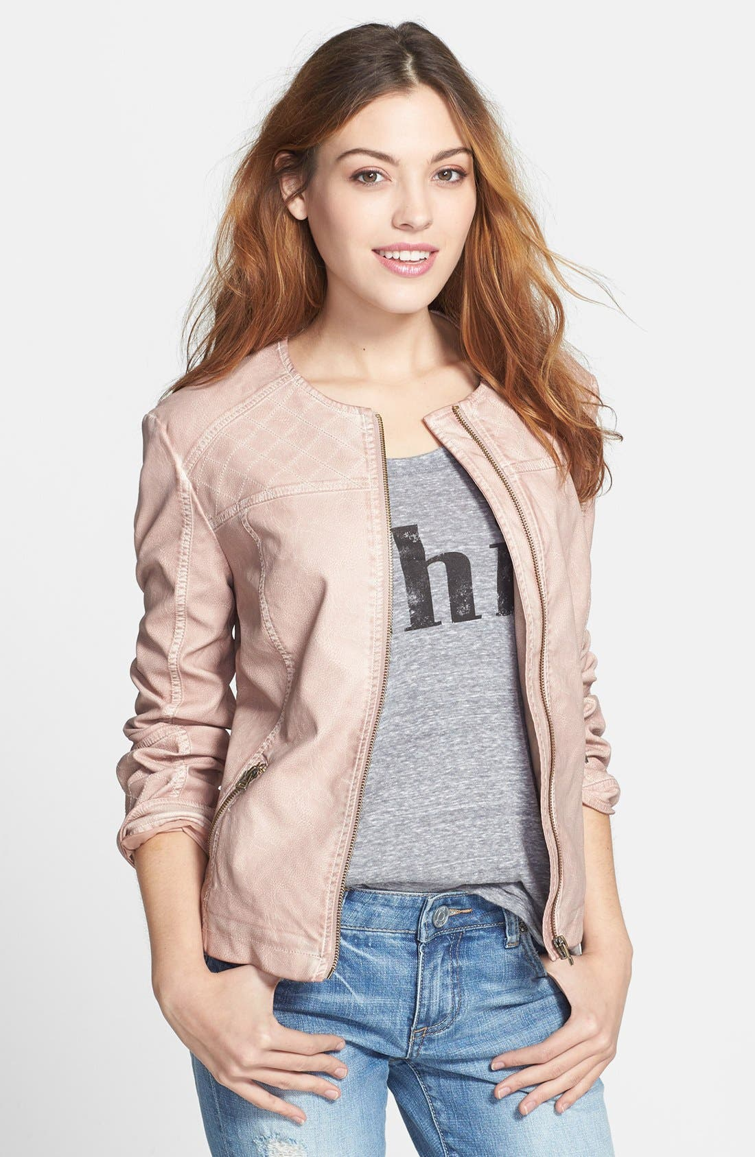 LIVE A LITTLE,                             Quilted Faux Leather Jacket,                             Main thumbnail 1, color,                             681
