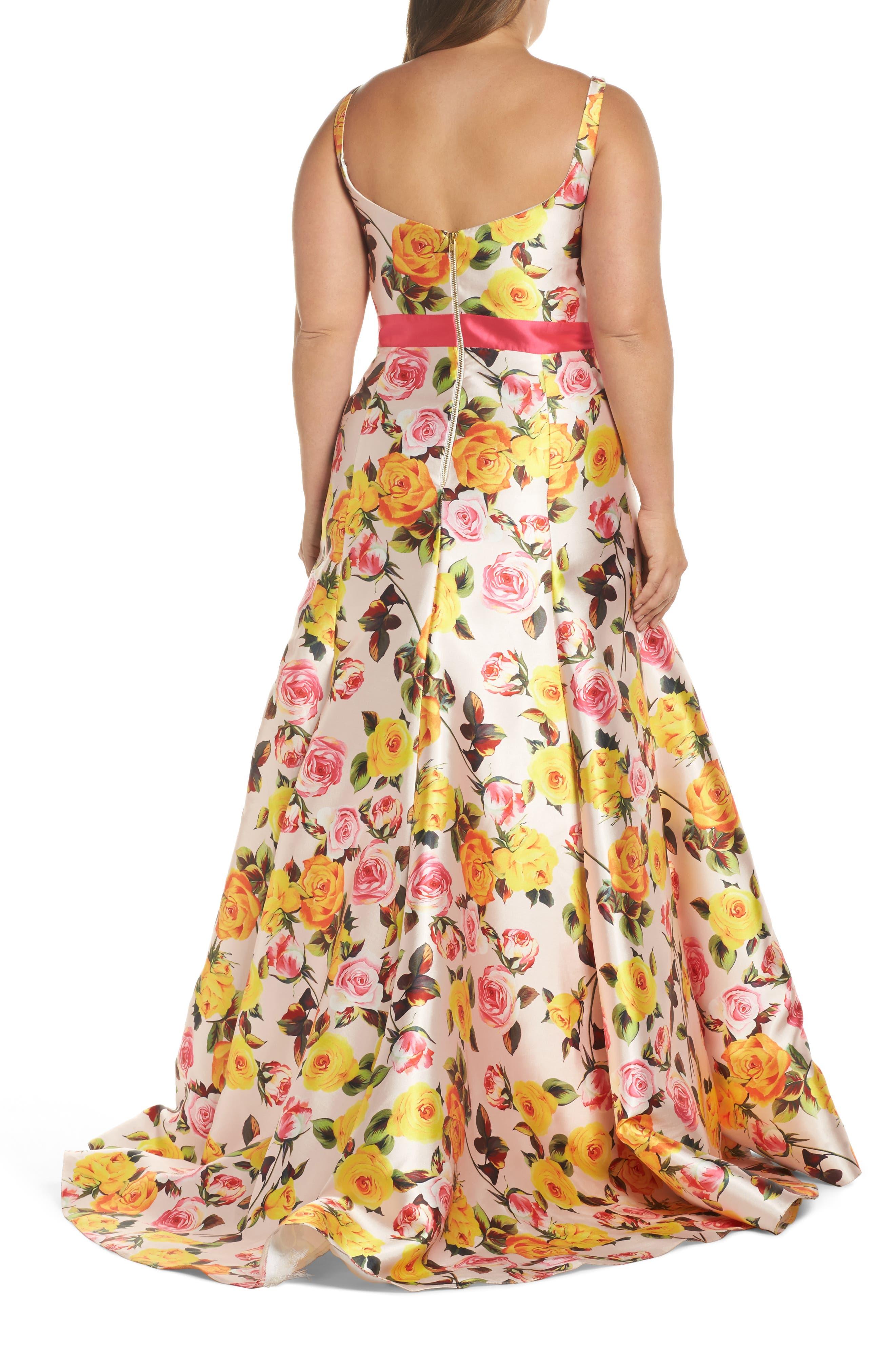 Floral Trumpet Gown,                             Alternate thumbnail 2, color,                             BLUSH FLORAL