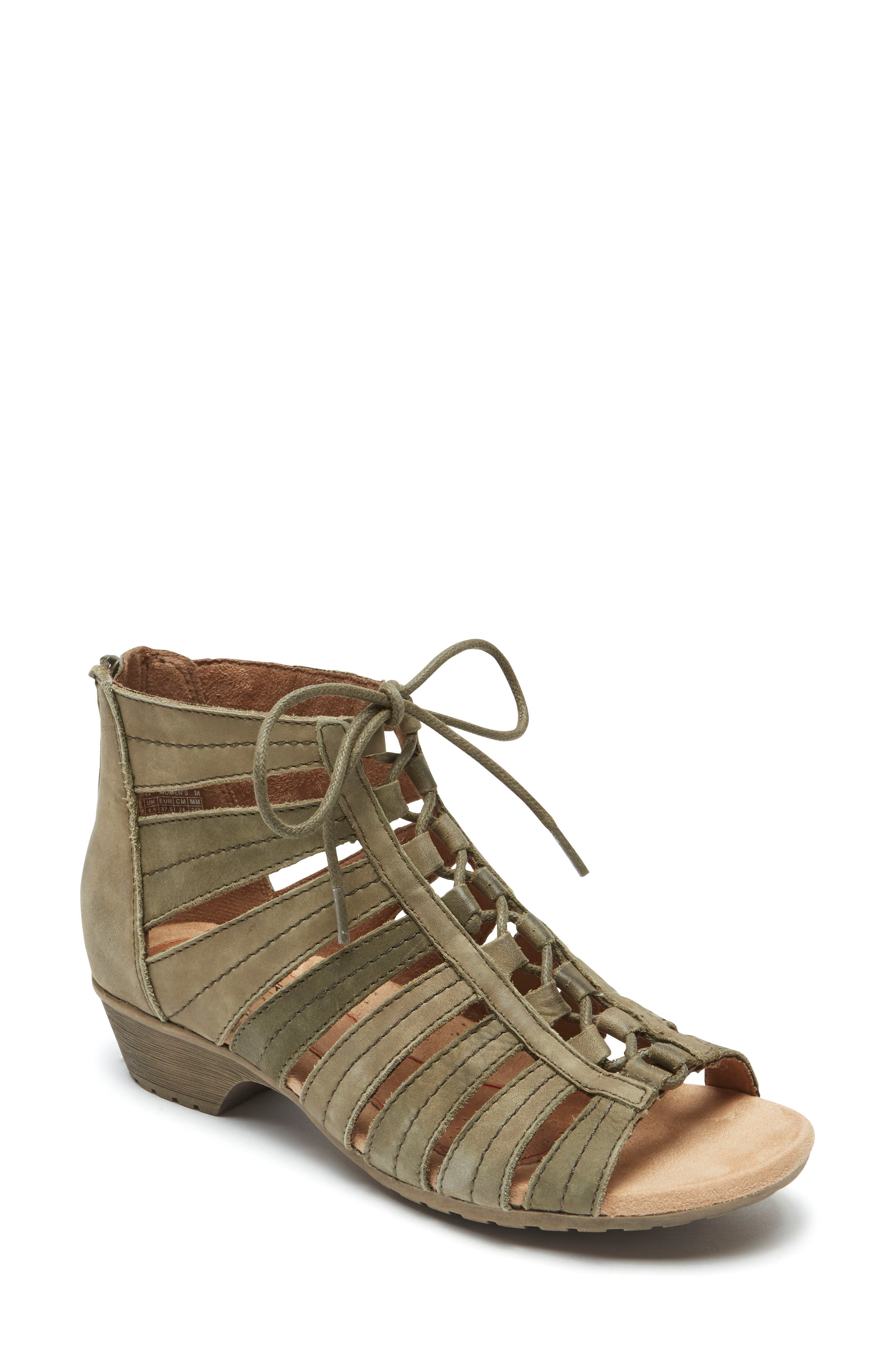 'Gabby' Lace-Up Sandal,                         Main,                         color, GREEN MULTI LEATHER