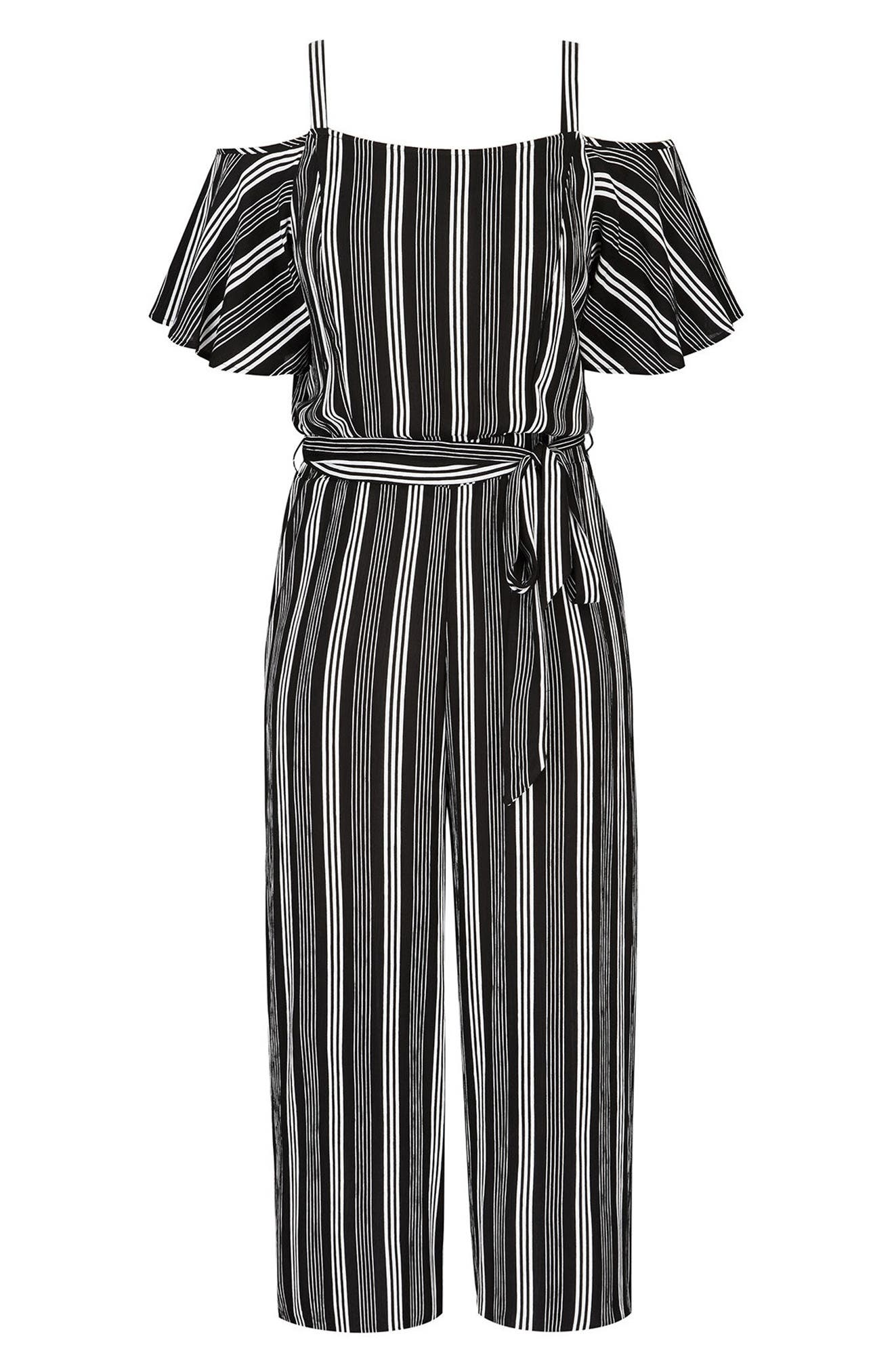 Stripe Play Cold Shoulder Jumpsuit,                             Alternate thumbnail 3, color,                             001