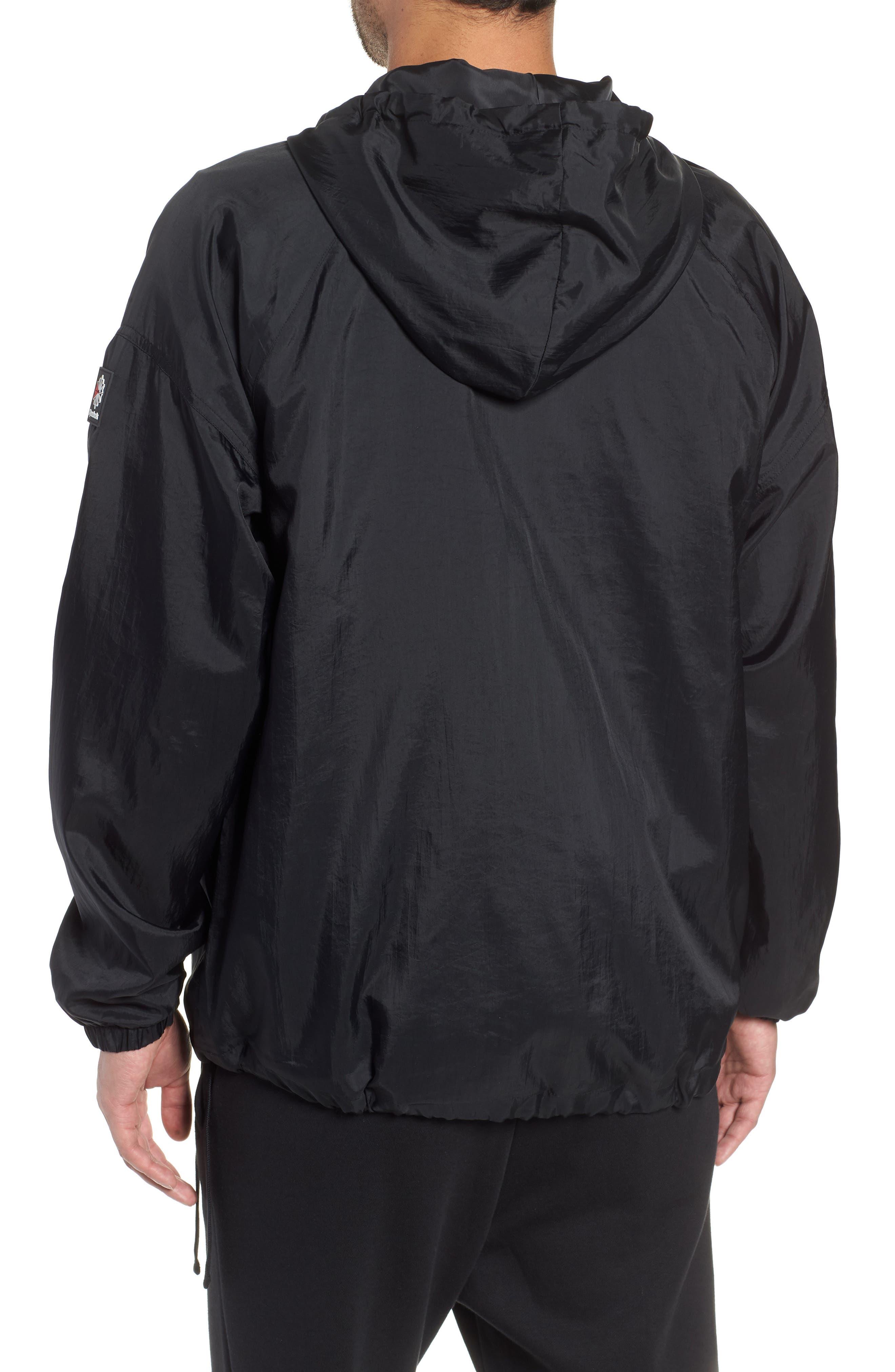 Half Zip Hooded Pullover,                             Alternate thumbnail 2, color,                             BLACK