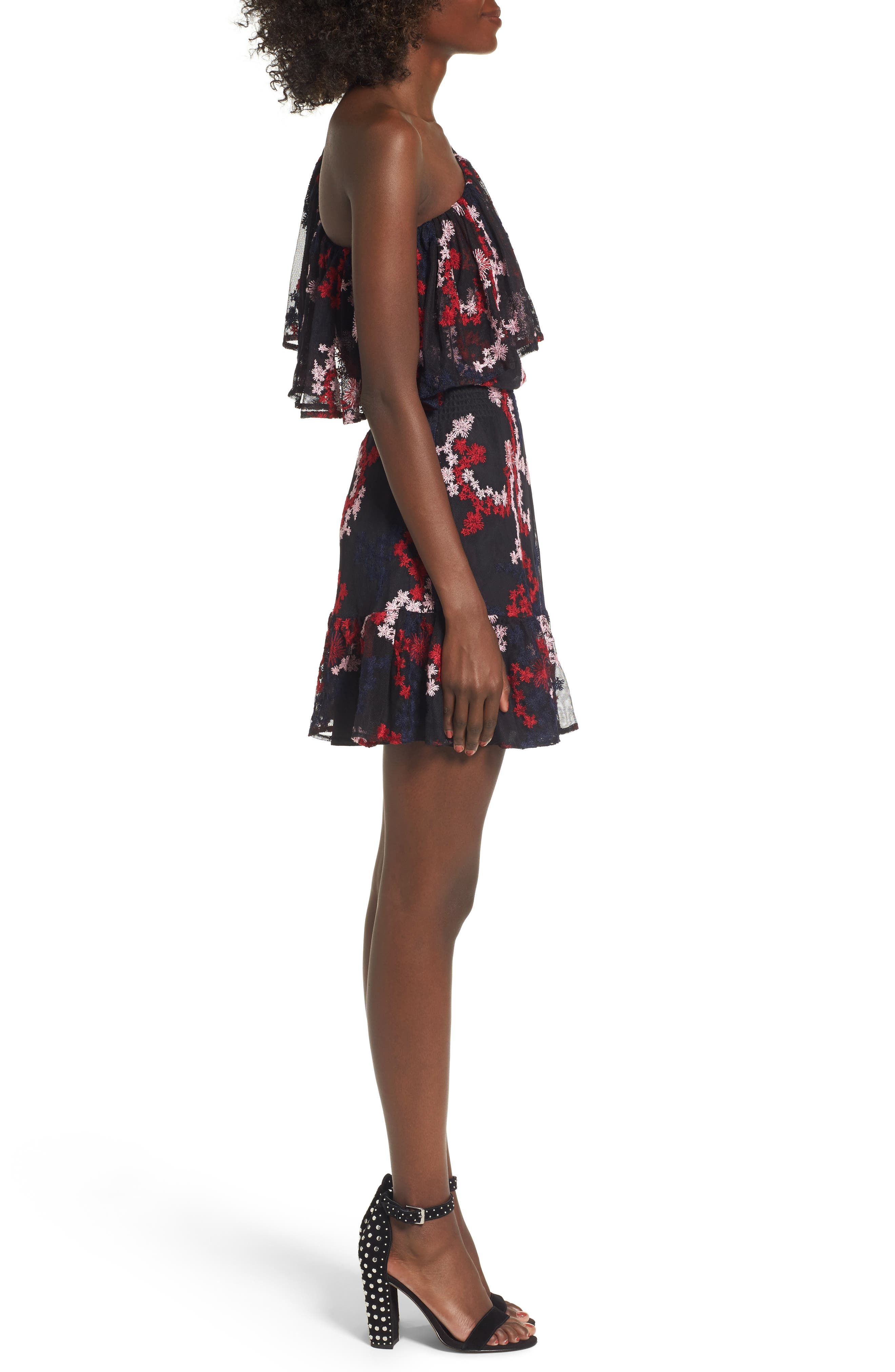 Irina One-Shoulder Blouson Dress,                             Alternate thumbnail 3, color,                             600