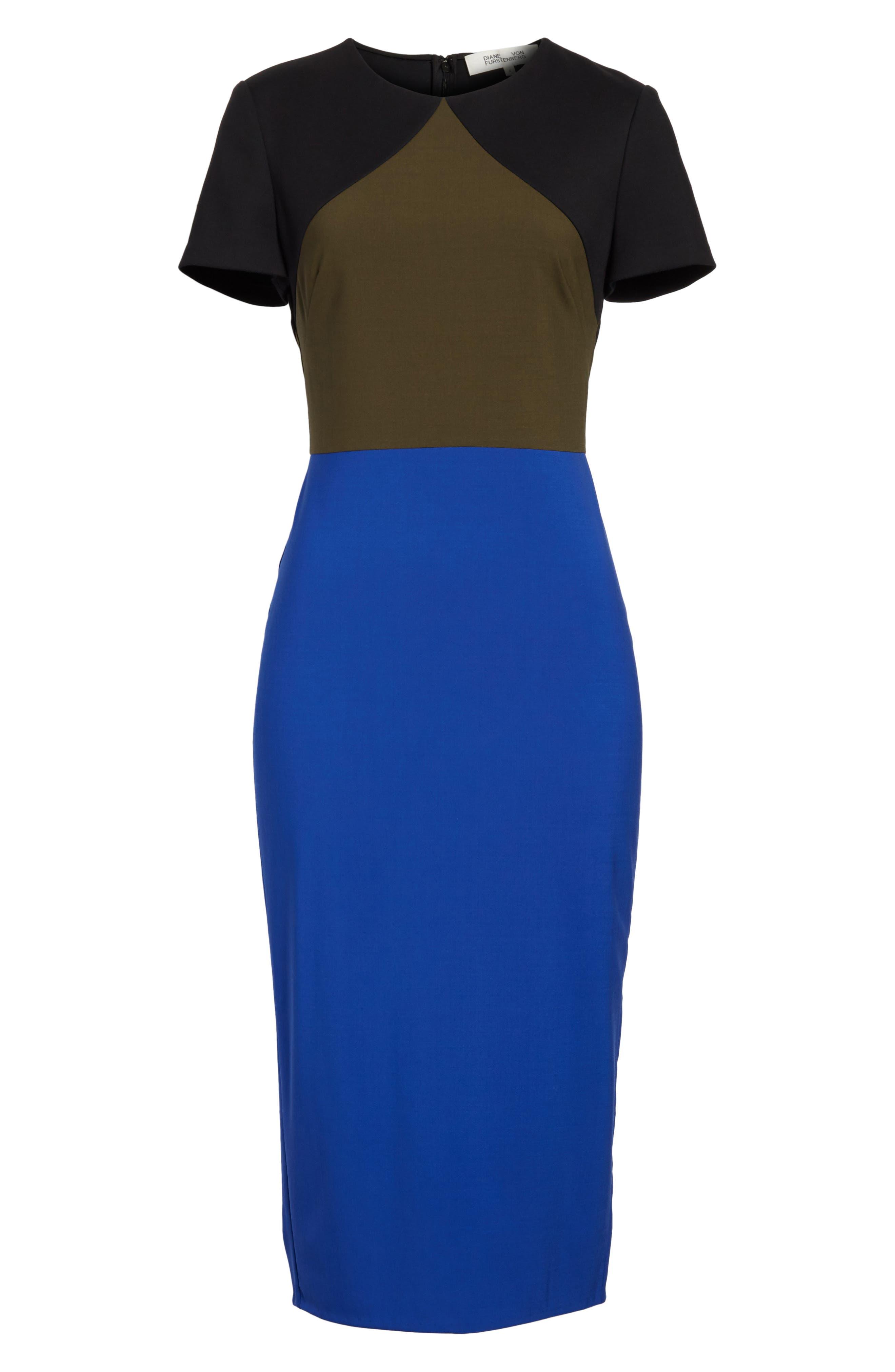 Colorblock Tailored Midi Dress,                             Alternate thumbnail 5, color,