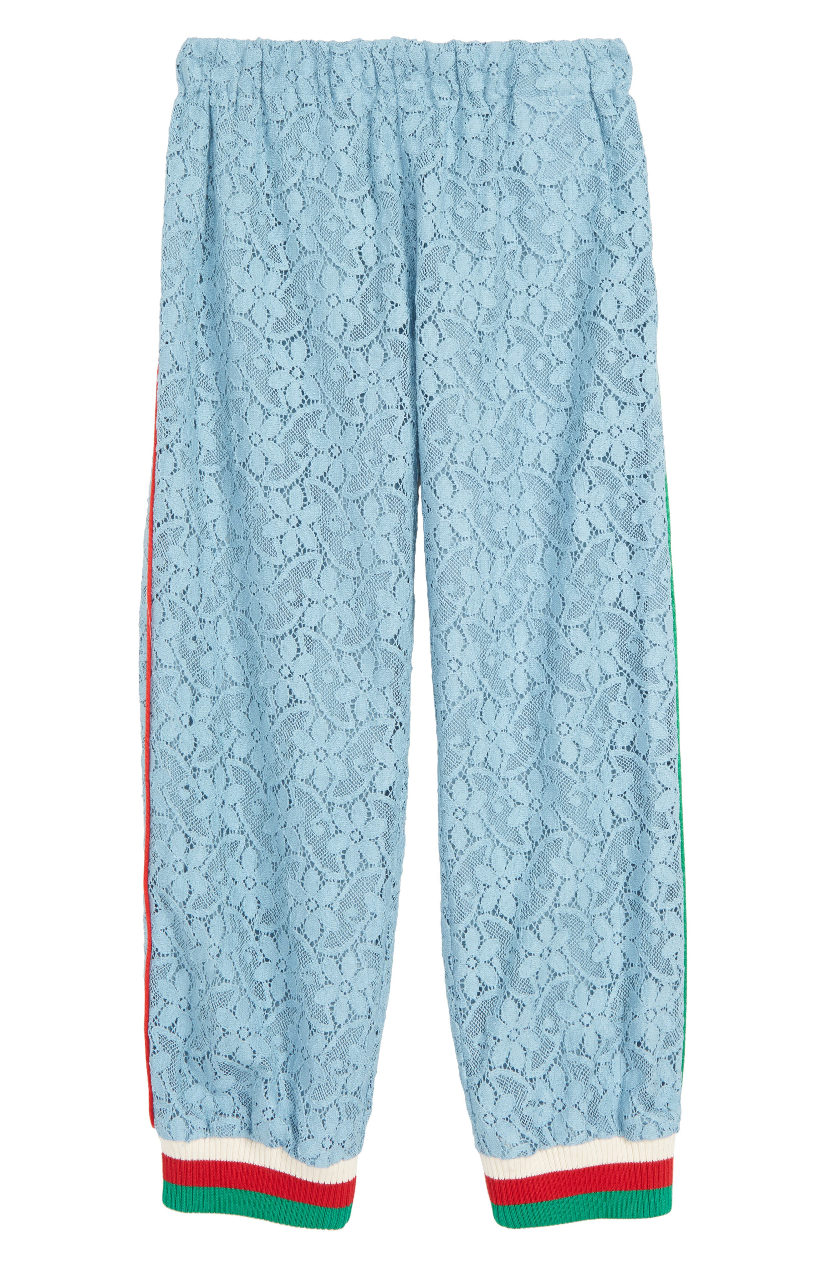 GUCCI Lace Jogger Pants, Main, color, SEA CLEAR BLUE