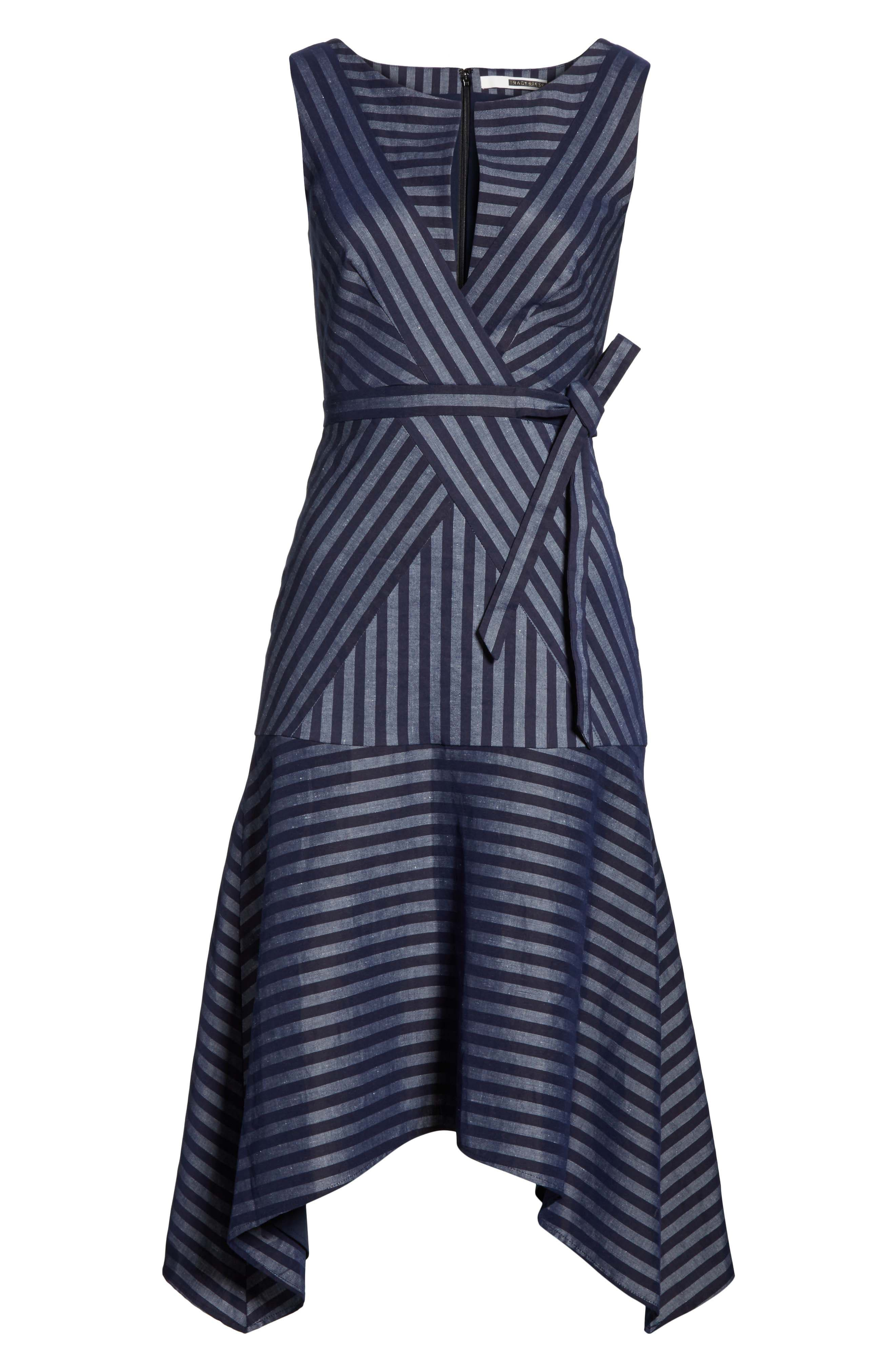 TRACY REESE,                             Directional Stripe A-Line Dress,                             Alternate thumbnail 6, color,                             417