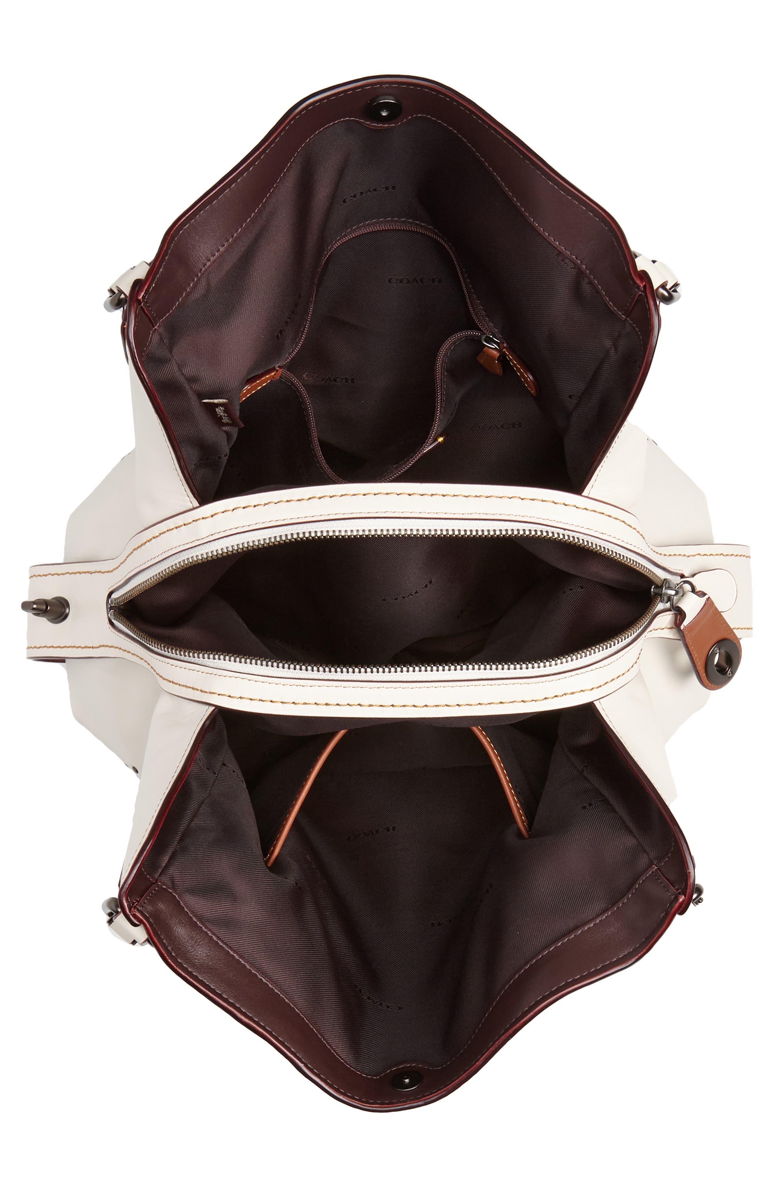 Edie 31 Signature Canvas & Leather Shoulder Bag,                             Alternate thumbnail 4, color,                             CHALK