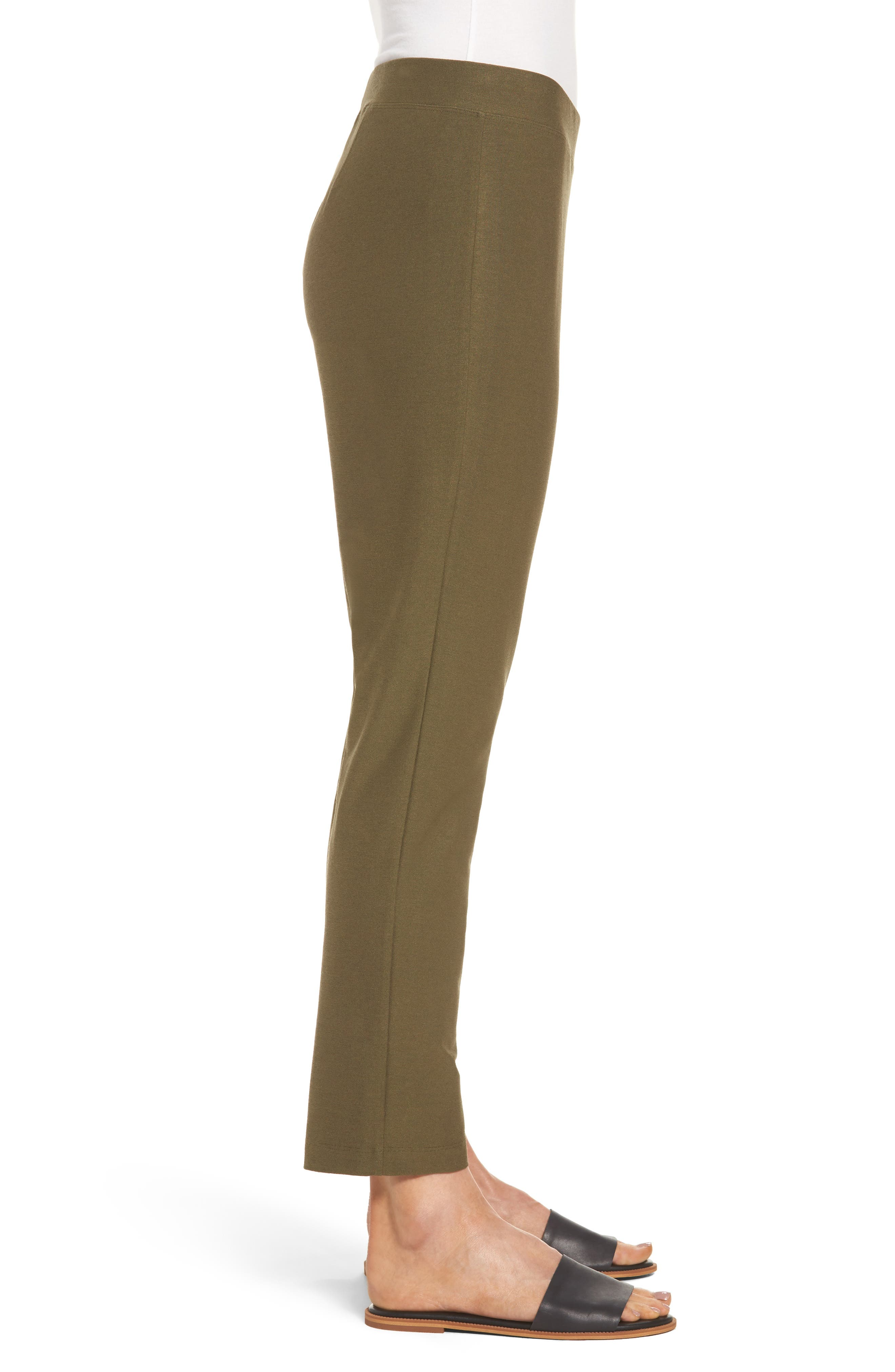 Stretch Crepe Slim Ankle Pants,                             Alternate thumbnail 3, color,                             OLIVE