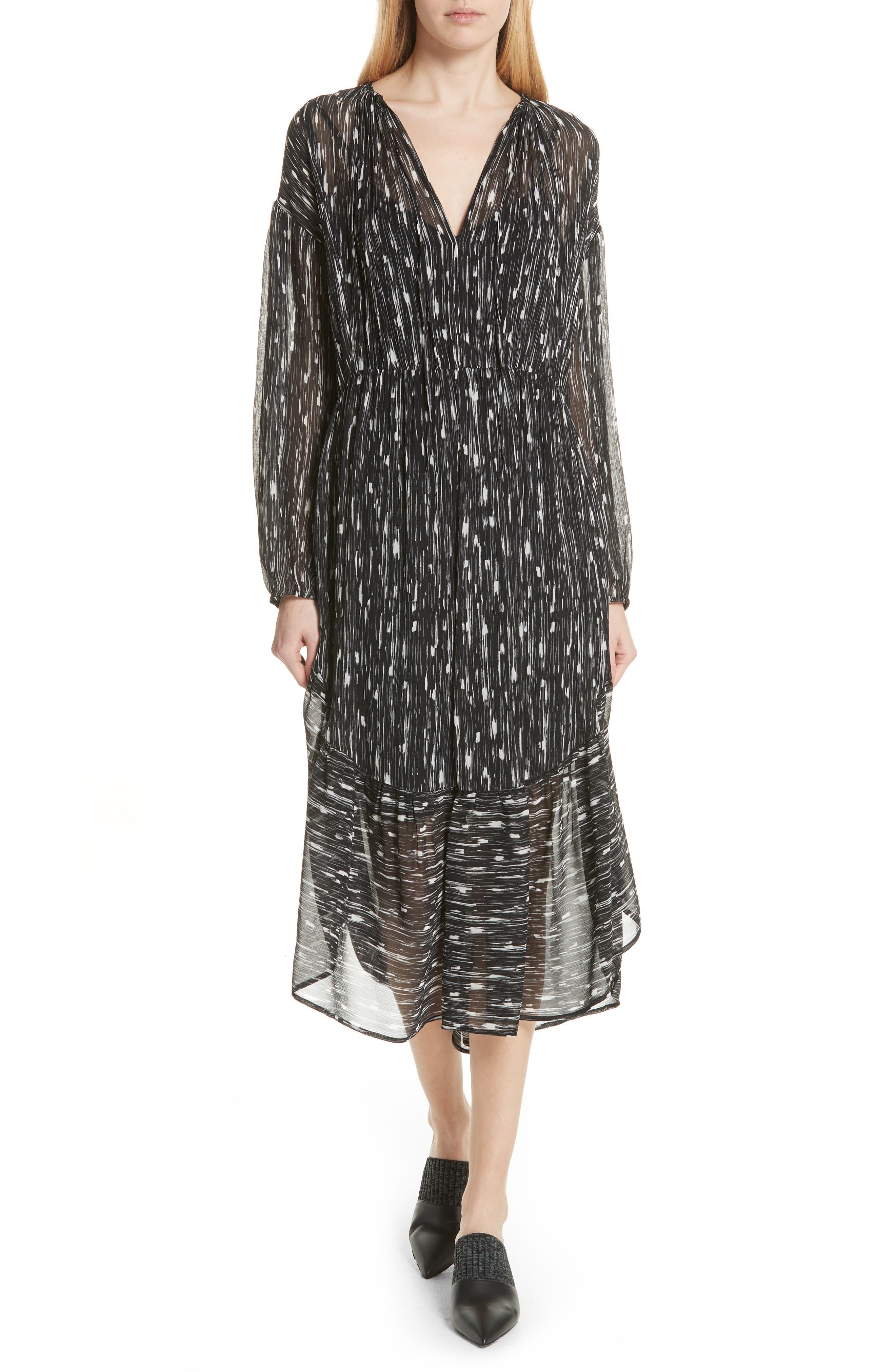 VINCE Brushstroke Silk Chiffon Dress, Main, color, 001