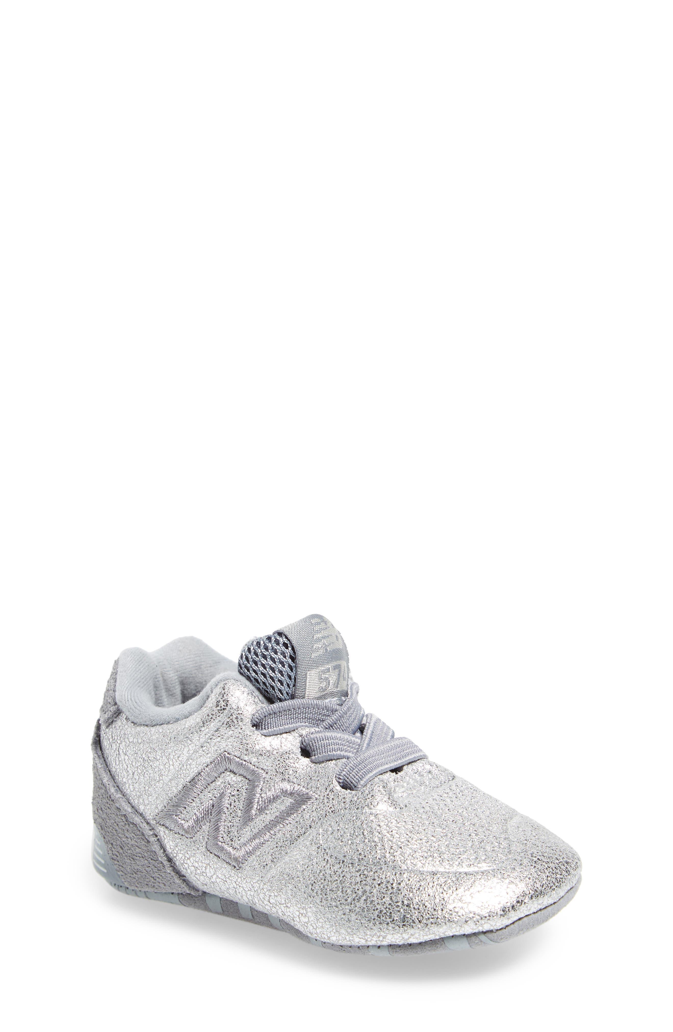 574 Metallic Crib Sneaker,                         Main,                         color,