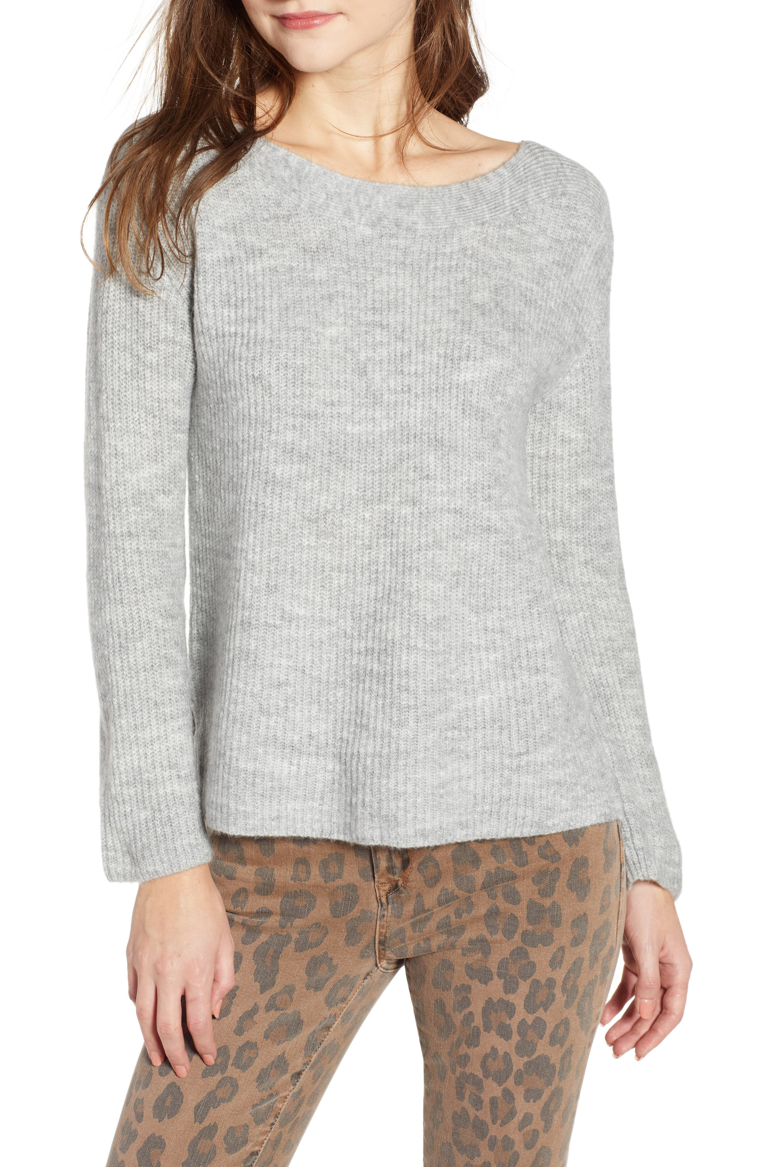 Cozy Femme Pullover Sweater,                             Main thumbnail 1, color,                             GREY PEARL HEATHER