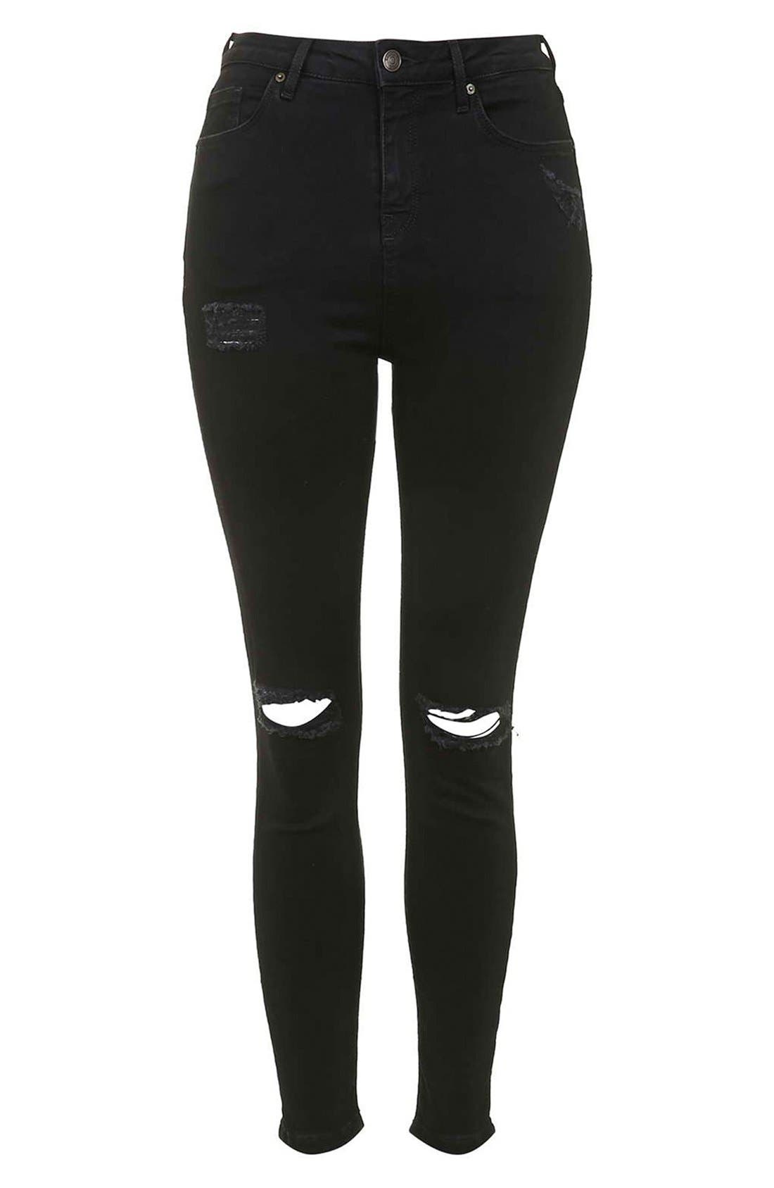 Moto 'Jamie' Ripped Skinny Jeans,                             Alternate thumbnail 5, color,                             001